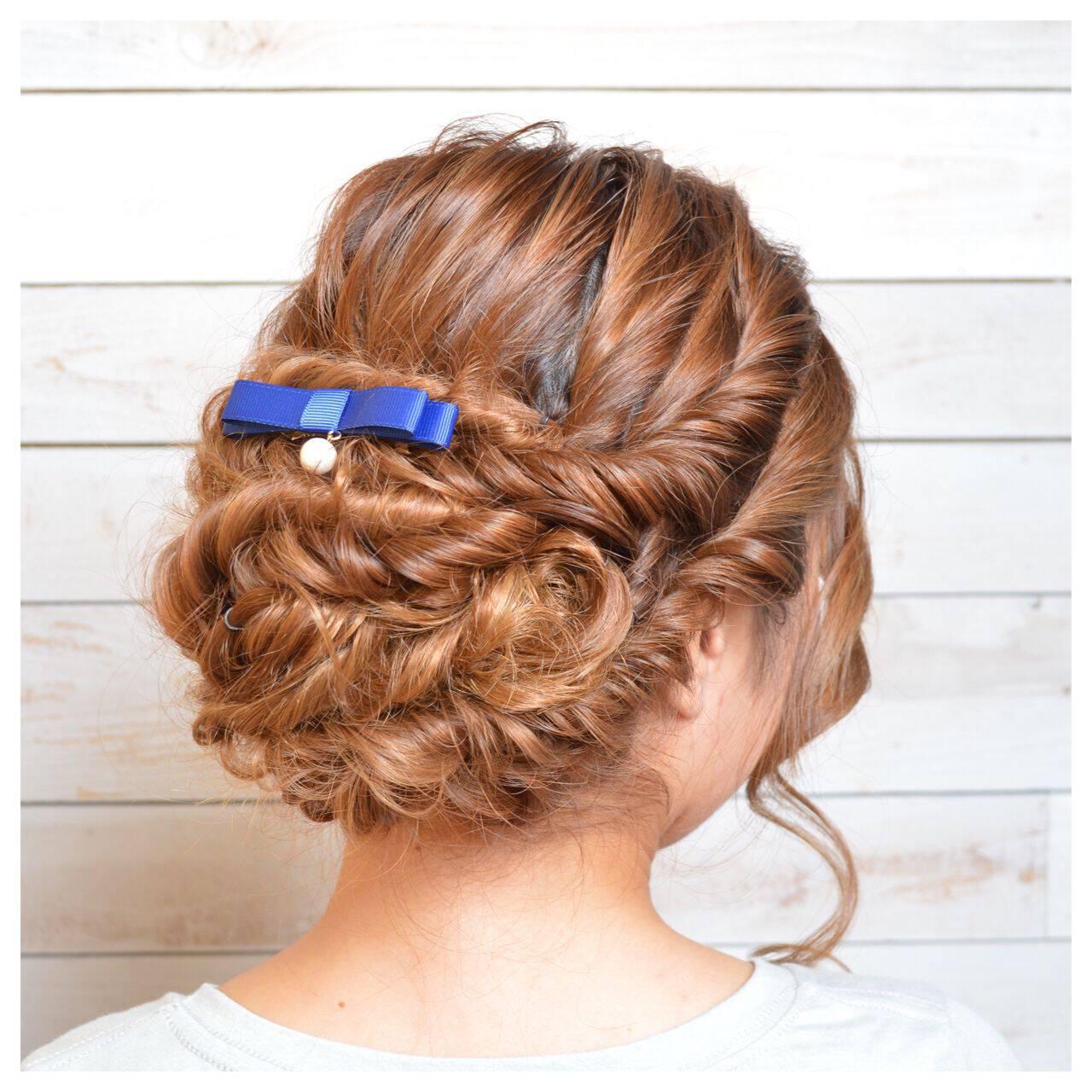 編み込み アップスタイル パーティ ヘアアレンジヘアスタイルや髪型の写真・画像