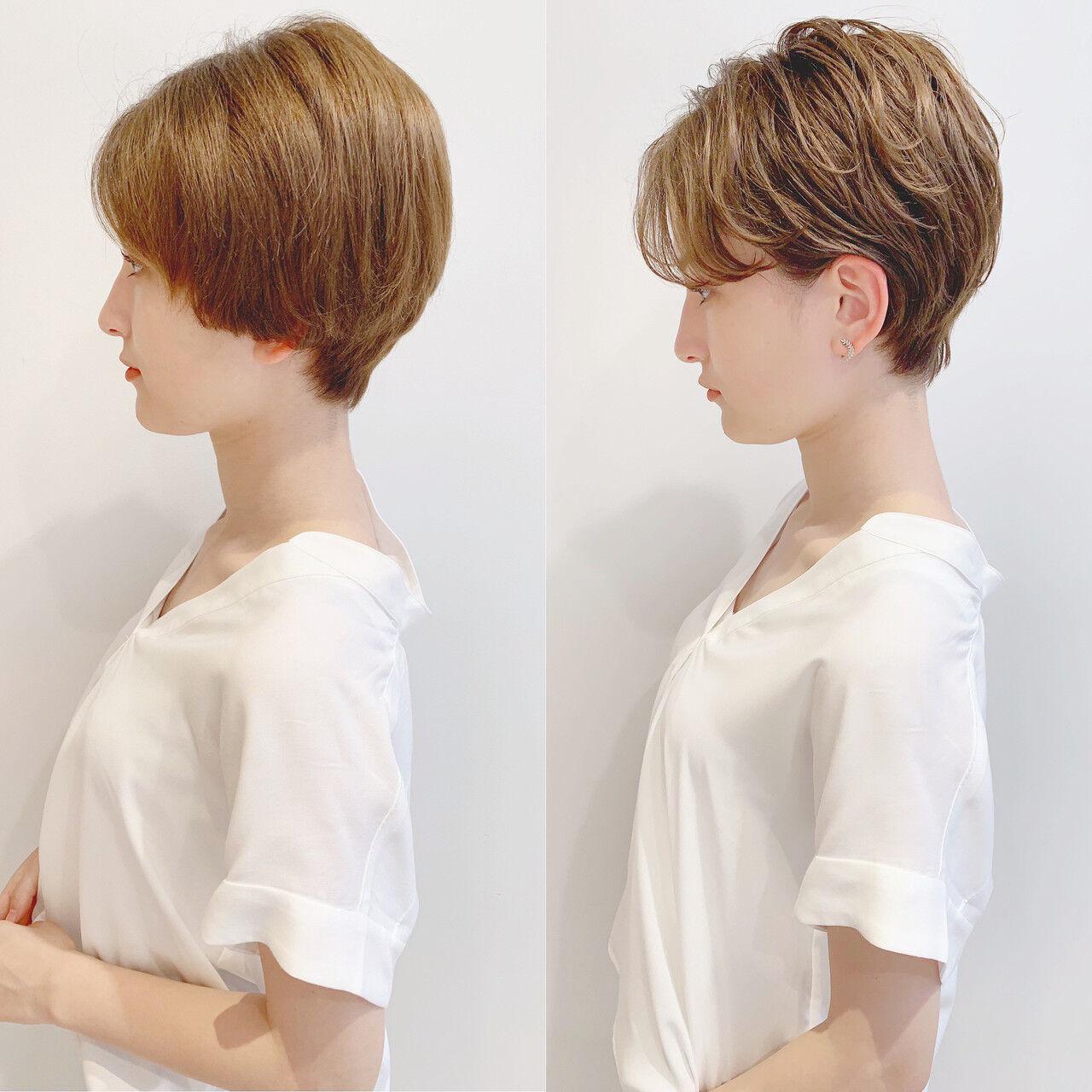 フェミニン アウトドア パーマ ショートヘアスタイルや髪型の写真・画像