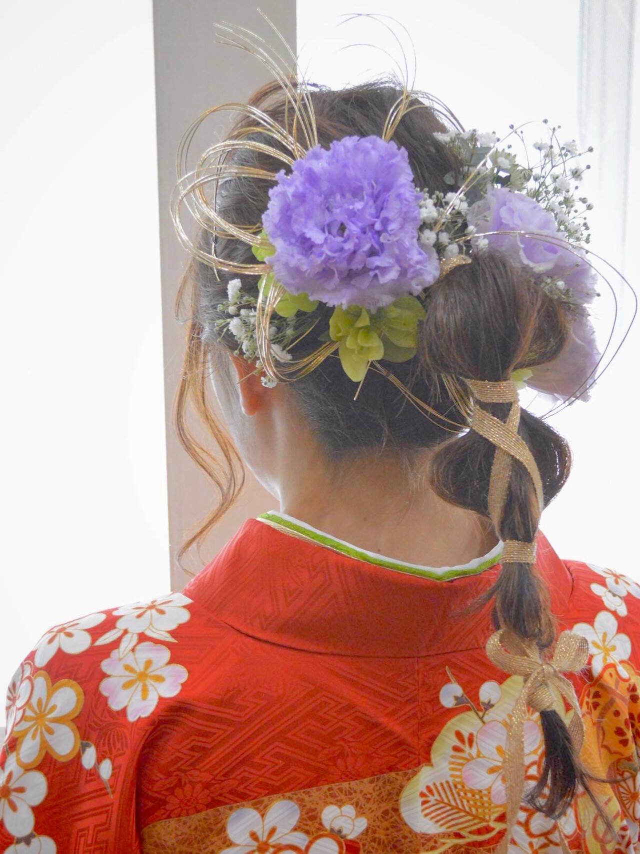 成人式ヘア ヘアアレンジ 可愛い 編み込みヘアスタイルや髪型の写真・画像
