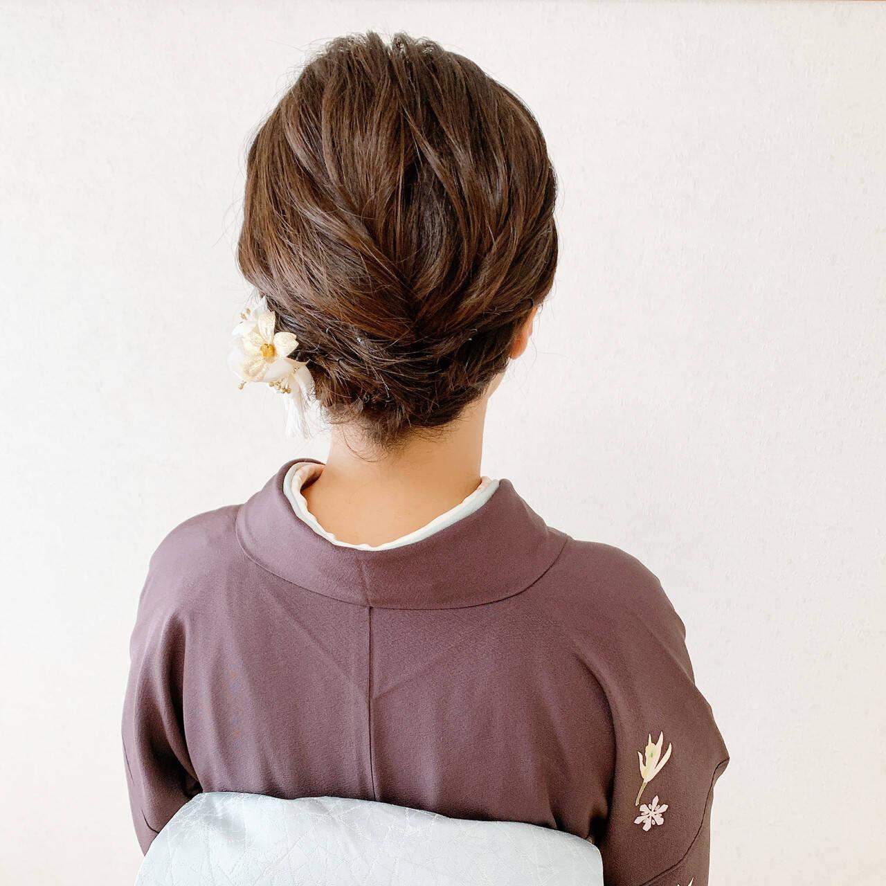 ボブ エレガント 着物 訪問着ヘアスタイルや髪型の写真・画像