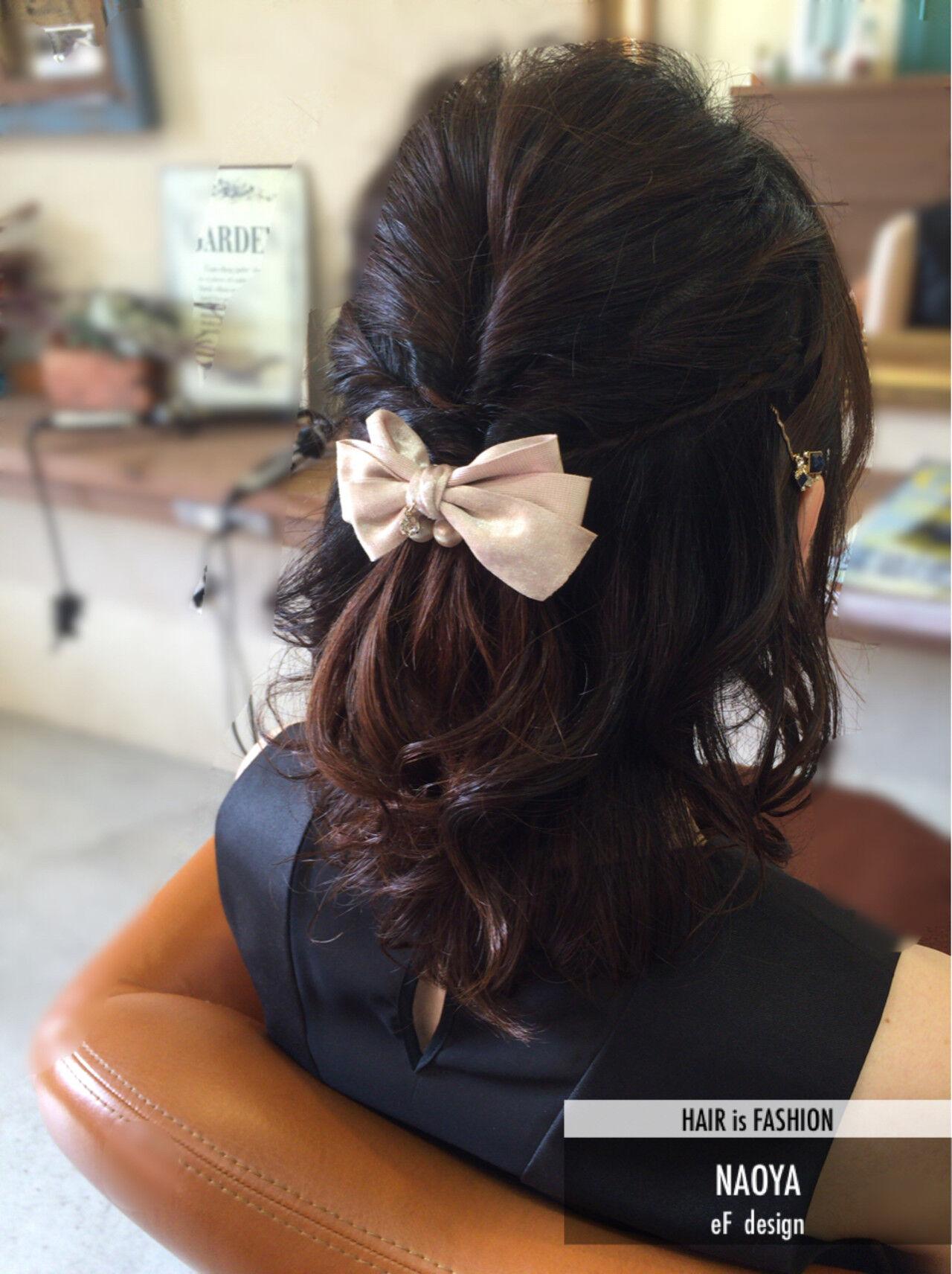 ゆるふわ ハーフアップ ヘアアレンジ ショートヘアスタイルや髪型の写真・画像