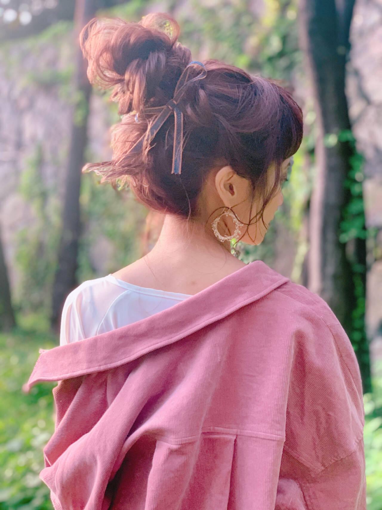 ヘアセット 結婚式ヘアアレンジ ヘアアレンジ フェミニンヘアスタイルや髪型の写真・画像