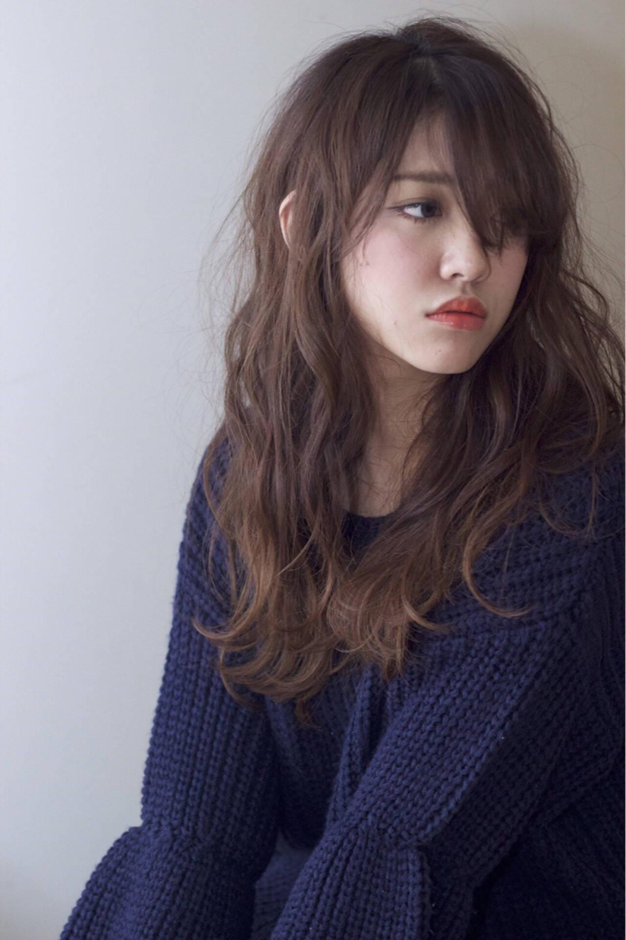 抜け感 ナチュラル 冬 オレンジヘアスタイルや髪型の写真・画像