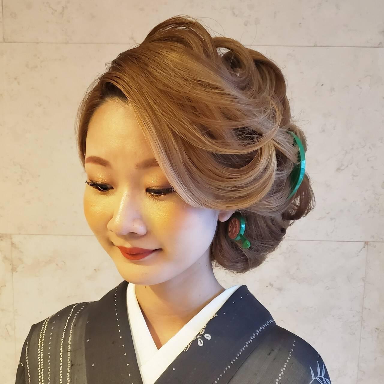 モード ロング 着物 和髪ヘアスタイルや髪型の写真・画像