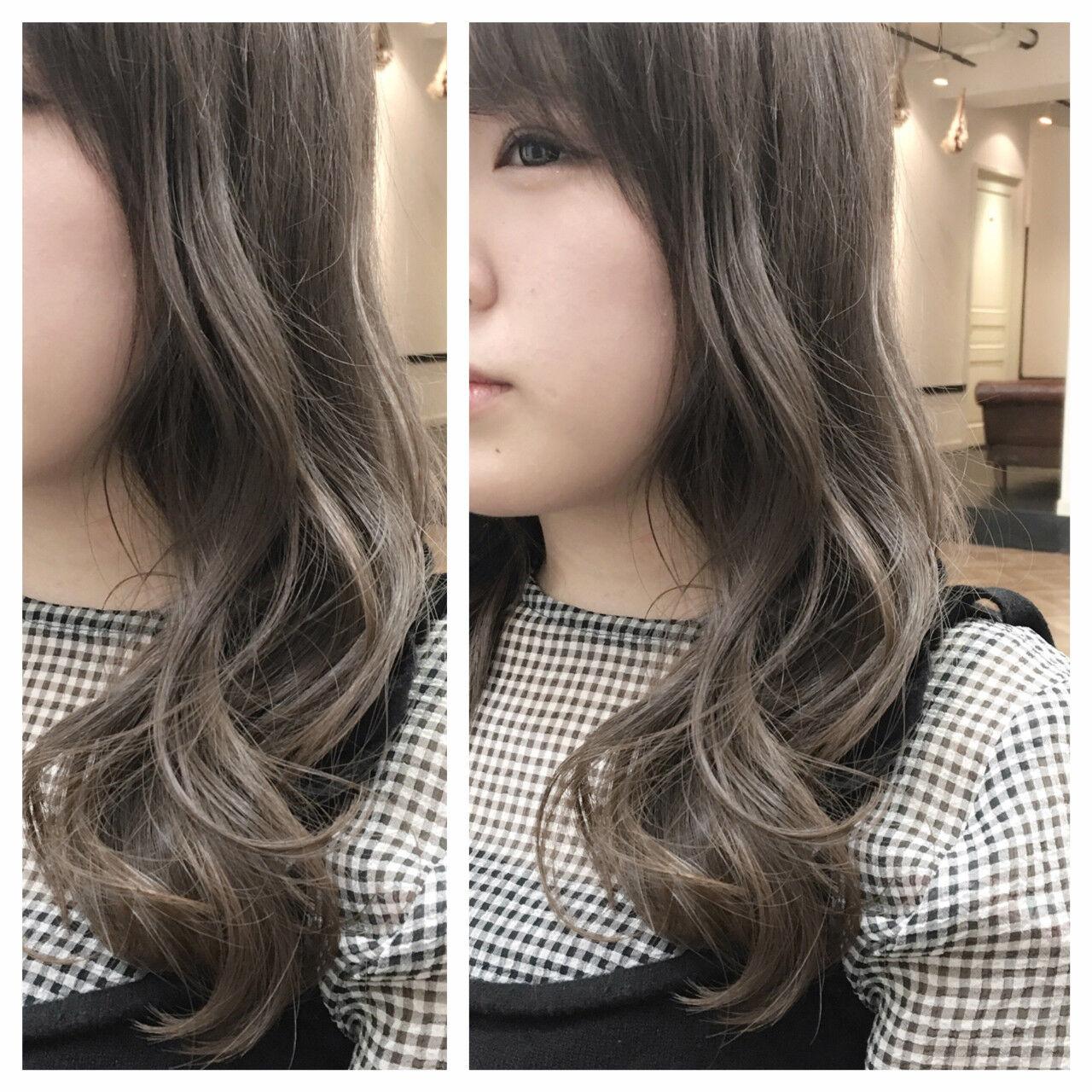 グラデーションカラー 外国人風 ハイライト セミロングヘアスタイルや髪型の写真・画像
