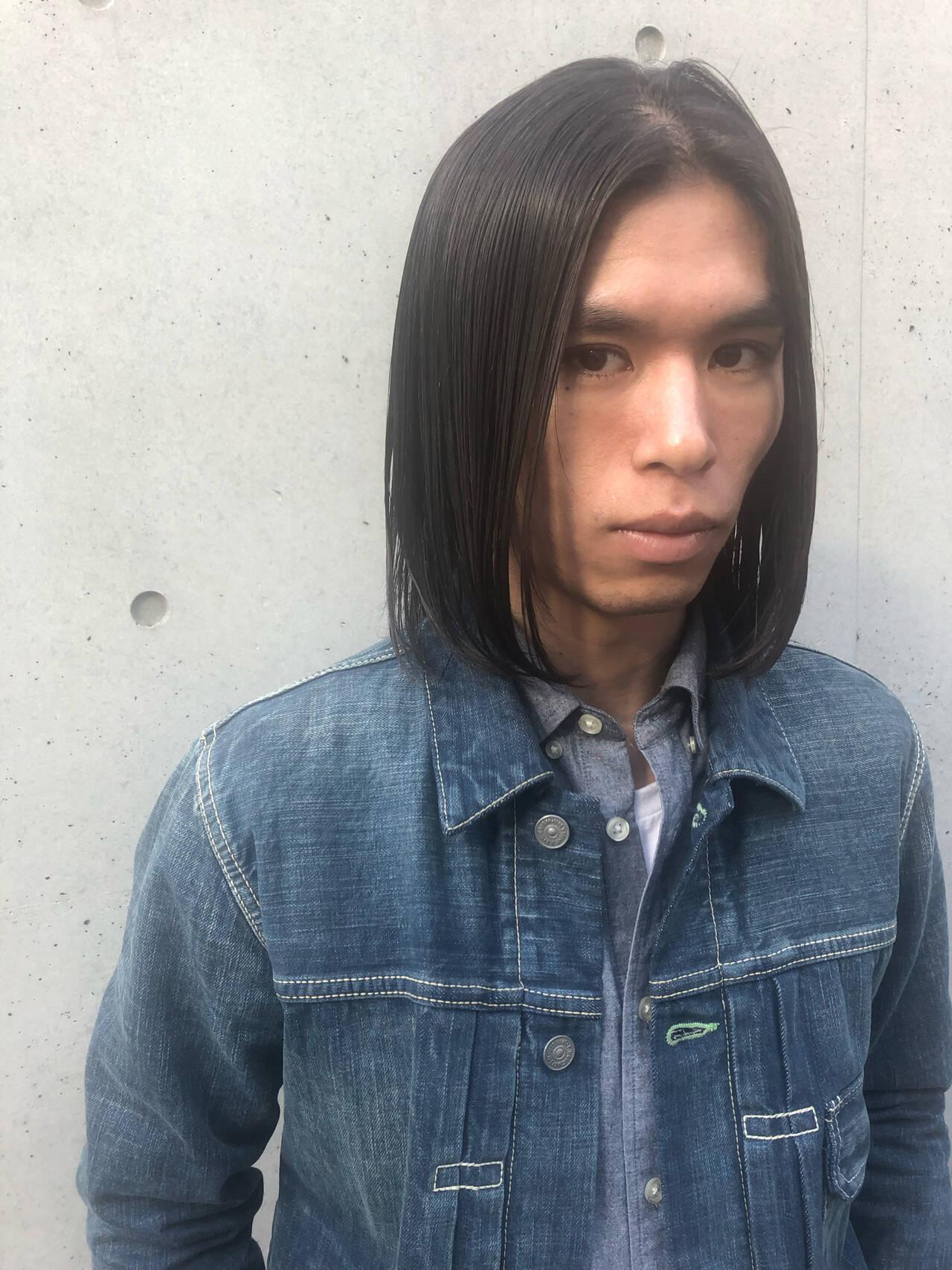 メンズ モード ワンレングス メンズスタイルヘアスタイルや髪型の写真・画像