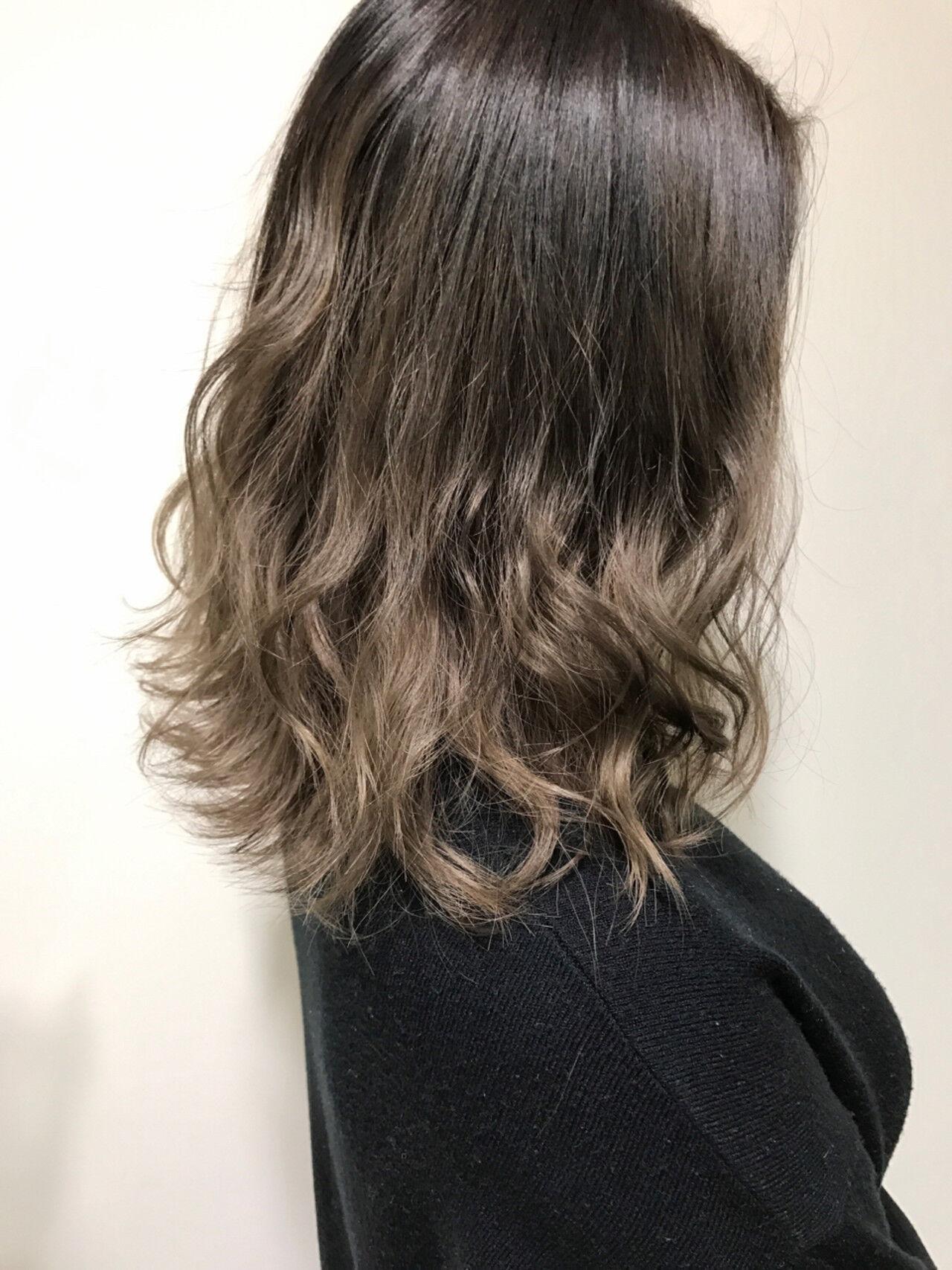ボブ ガーリー ミディアム グラデーションカラーヘアスタイルや髪型の写真・画像