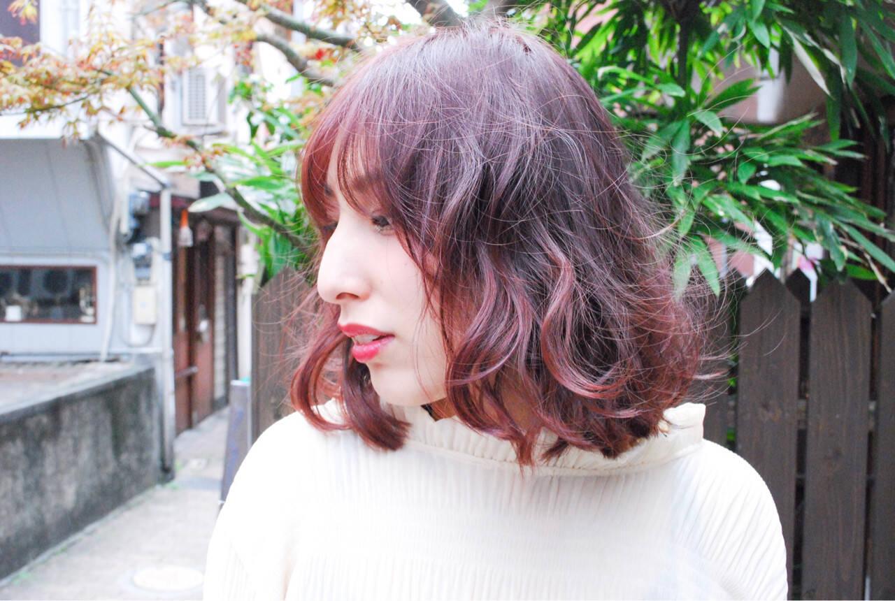 ラベンダーピンク 透明感 ピンク ナチュラルヘアスタイルや髪型の写真・画像
