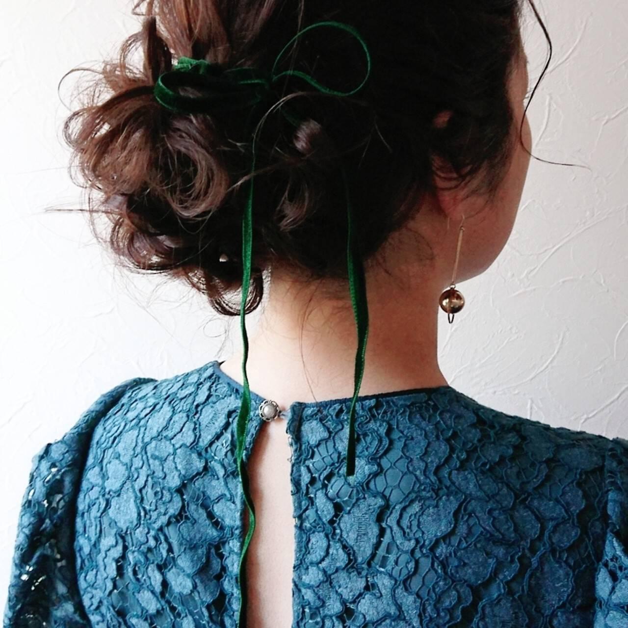 パーティー ゆるふわ 卒業式 ミディアムヘアスタイルや髪型の写真・画像