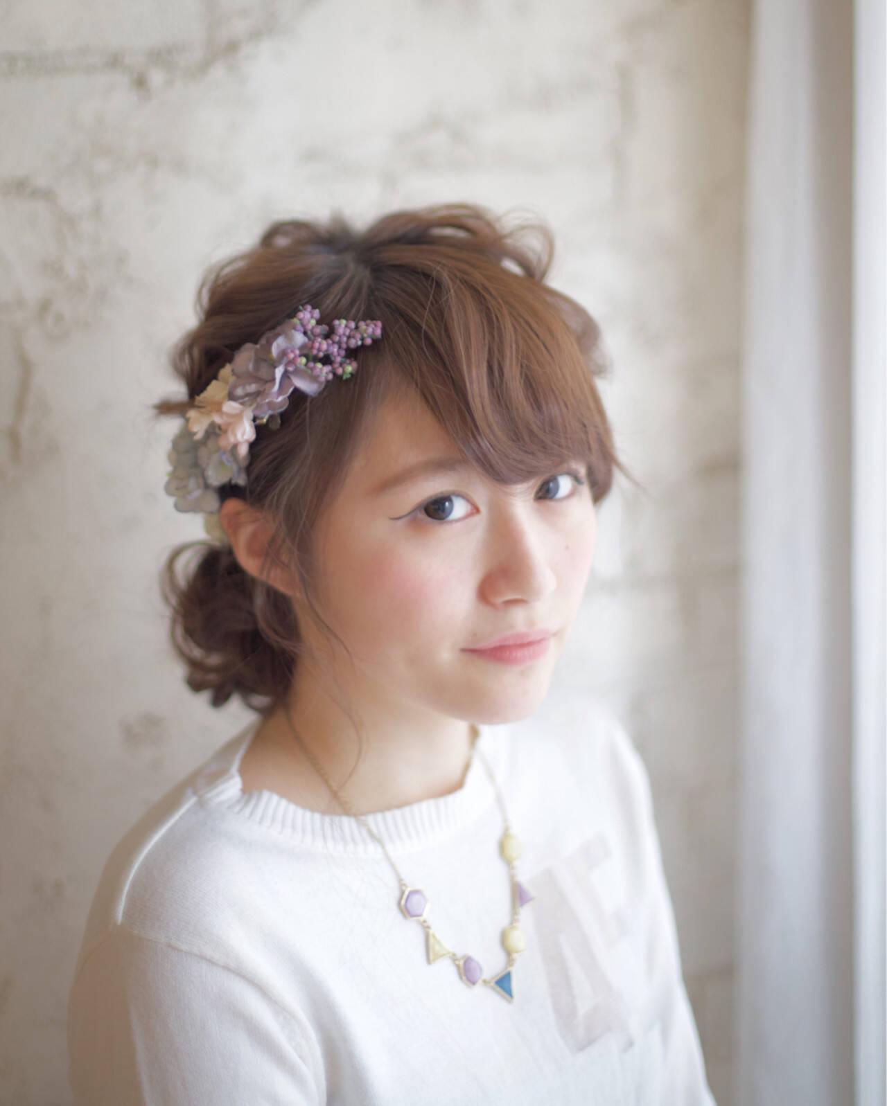 ショート セミロング 大人かわいい 簡単ヘアアレンジヘアスタイルや髪型の写真・画像