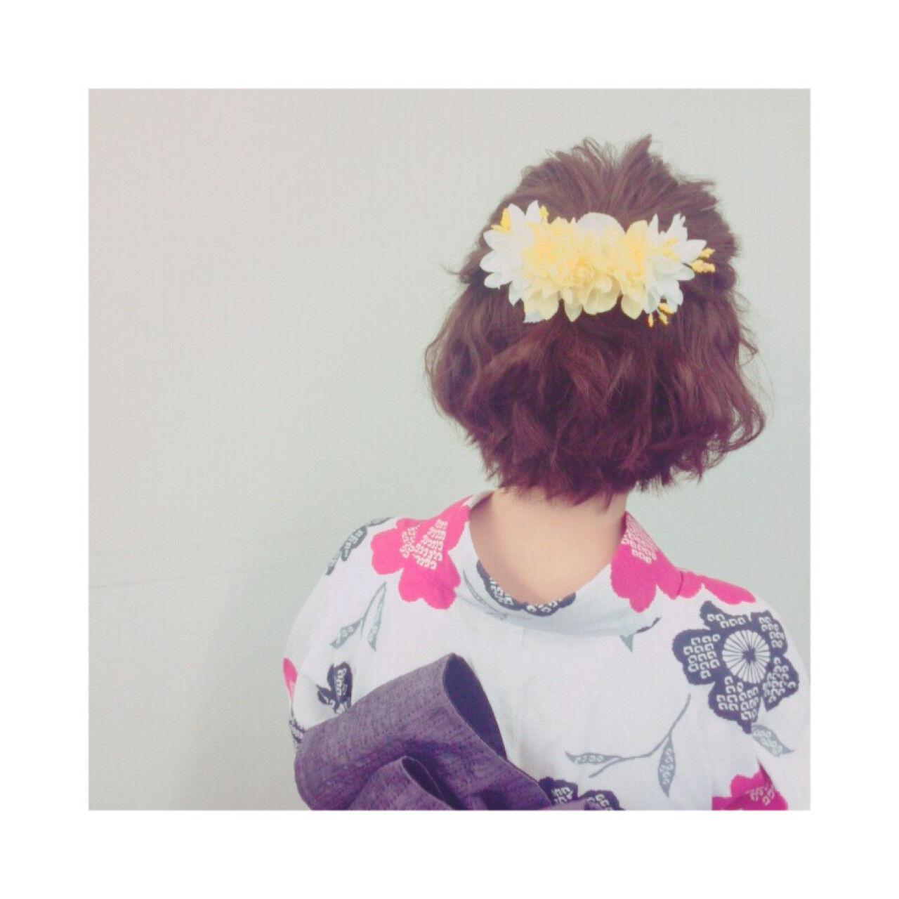 お祭り 花火大会 ハーフアップ ボブヘアスタイルや髪型の写真・画像