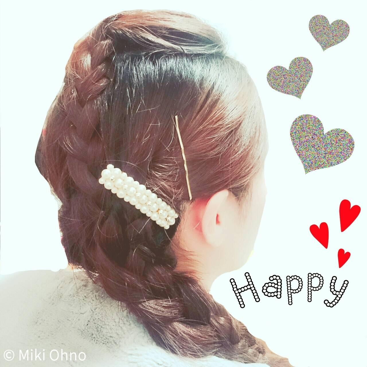 編み込み 結婚式 パールアクセ 外国人風ヘアスタイルや髪型の写真・画像