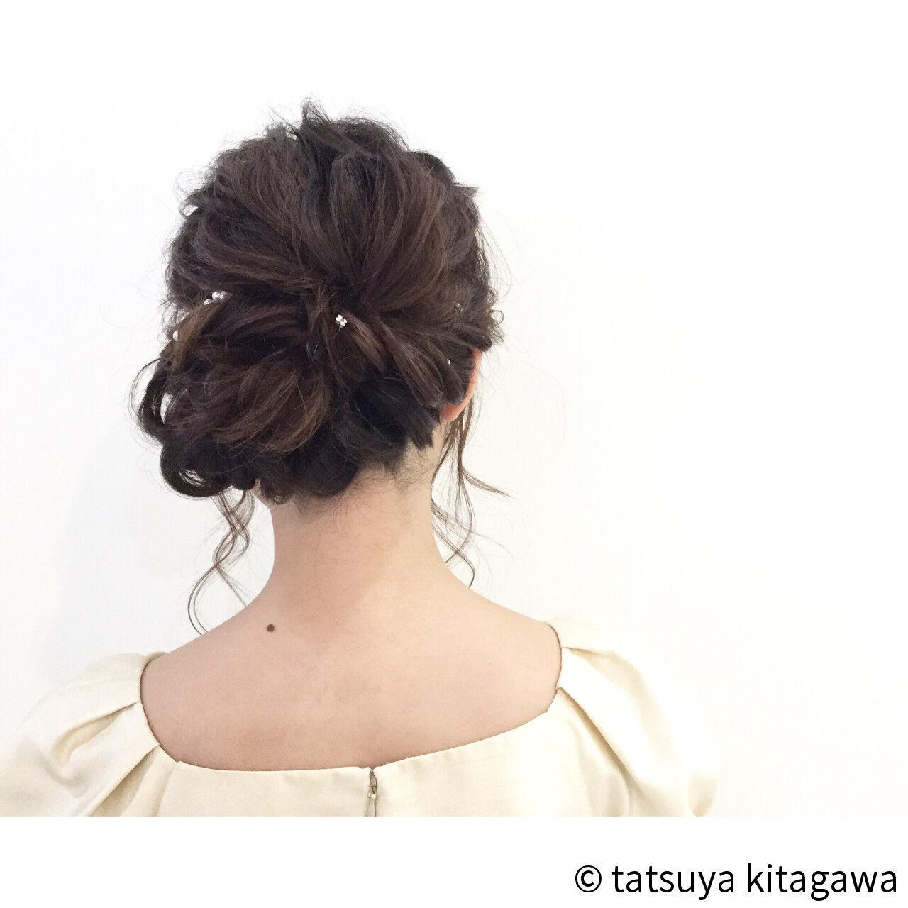 フェミニン 花嫁 結婚式 ヘアアレンジヘアスタイルや髪型の写真・画像