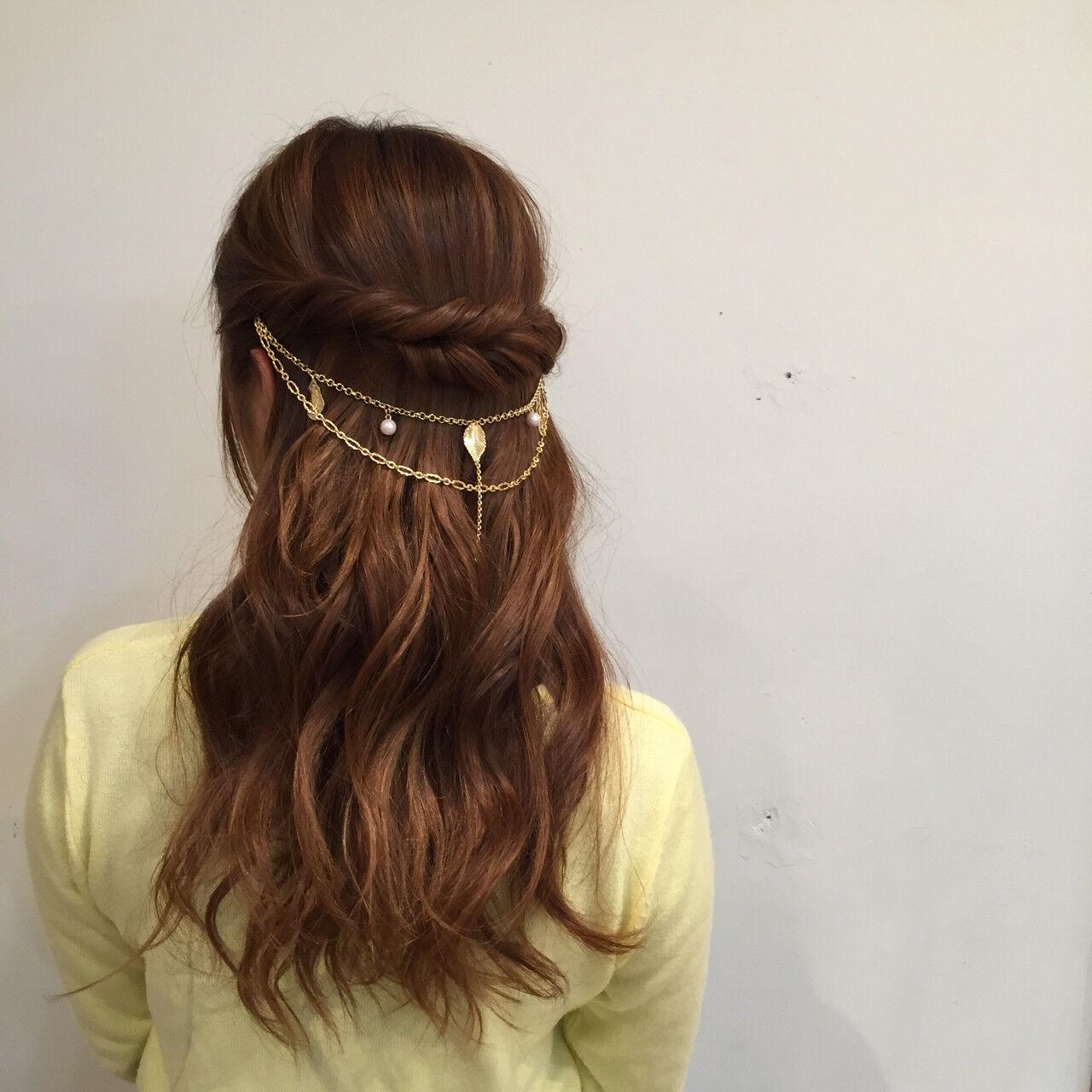 大人かわいい ハーフアップ セミロング 抜け感ヘアスタイルや髪型の写真・画像