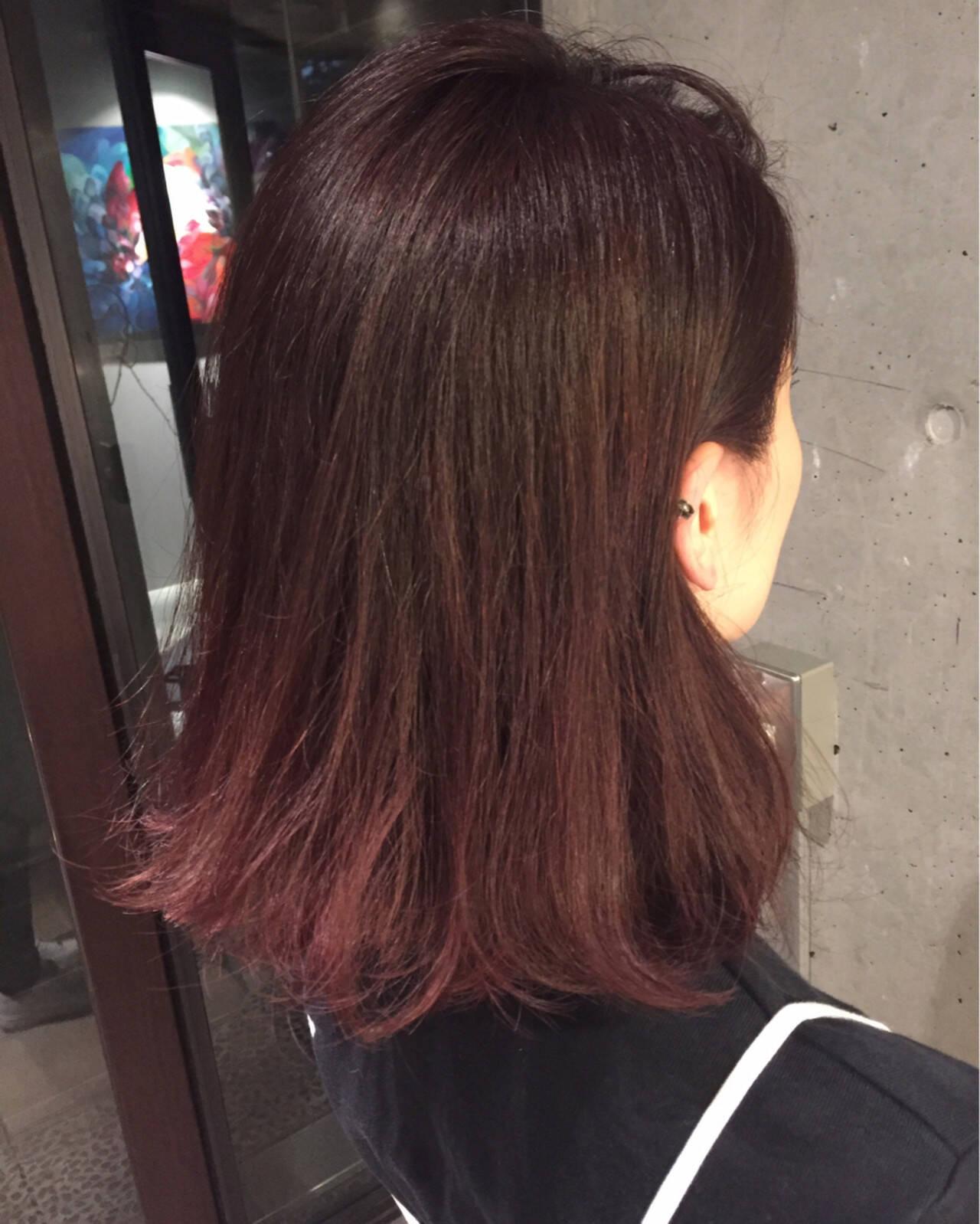 ピンク モーブ ストリート ボブヘアスタイルや髪型の写真・画像