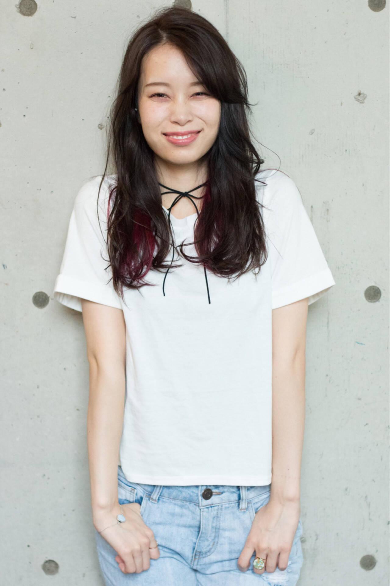涼しげ セミロング 夏 ピンクヘアスタイルや髪型の写真・画像
