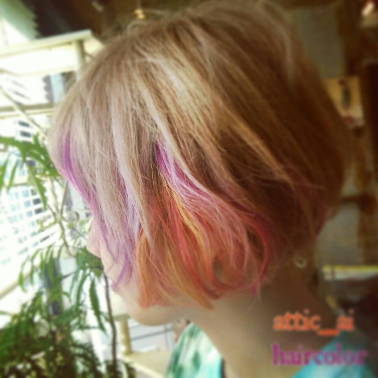 インナーカラー ショート カラーバター メッシュヘアスタイルや髪型の写真・画像