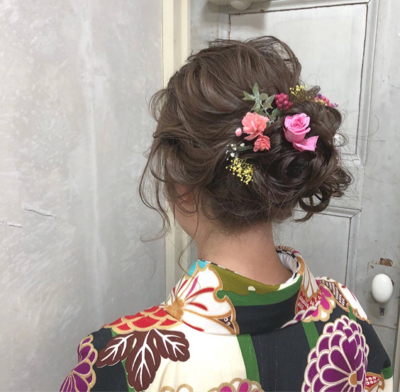 成人式 結婚式 ヘアアレンジ セミロングヘアスタイルや髪型の写真・画像