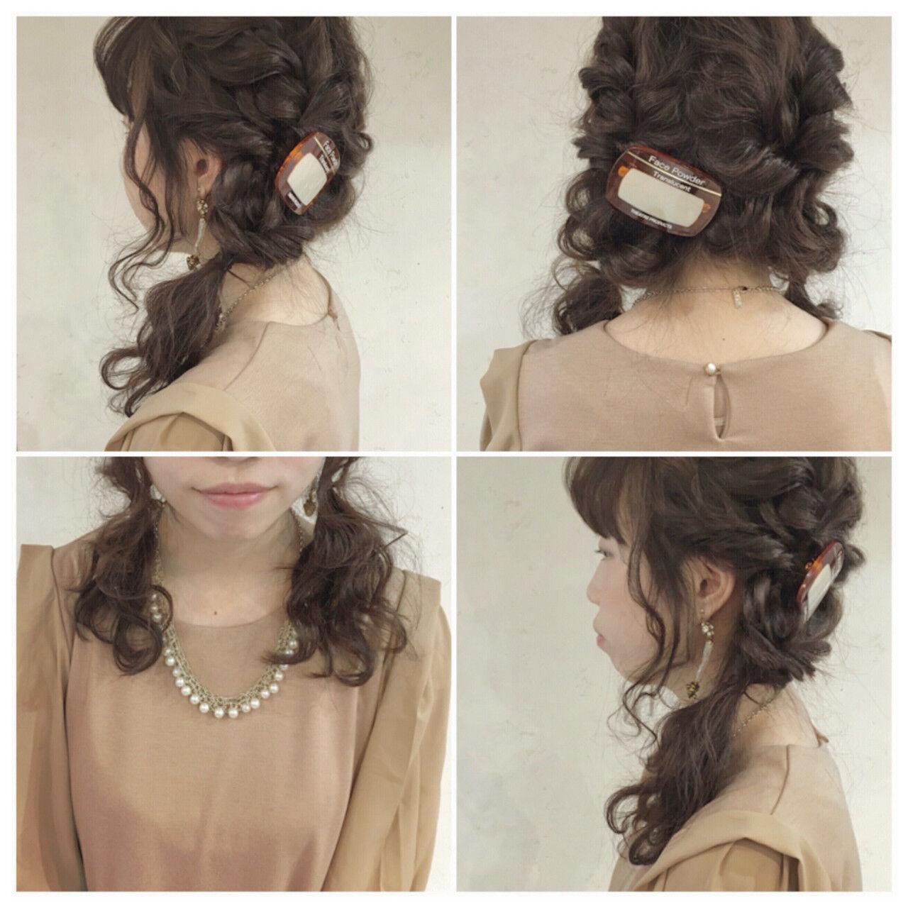 波ウェーブ 結婚式 セミロング ツインテールヘアスタイルや髪型の写真・画像