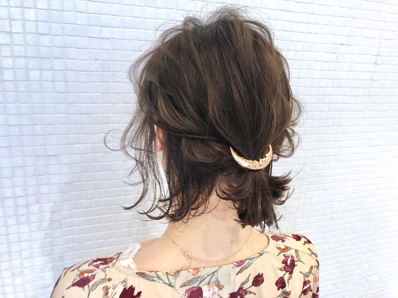 ナチュラル ボブ ヘアアクセサリー ポニーテールヘアスタイルや髪型の写真・画像