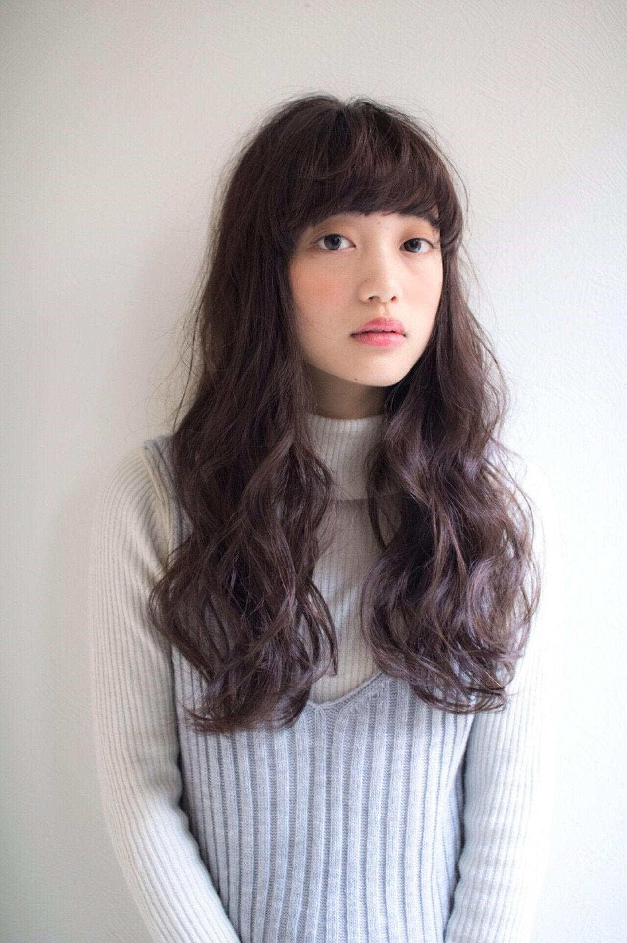 ロング 大人かわいい ガーリー 前髪ありヘアスタイルや髪型の写真・画像