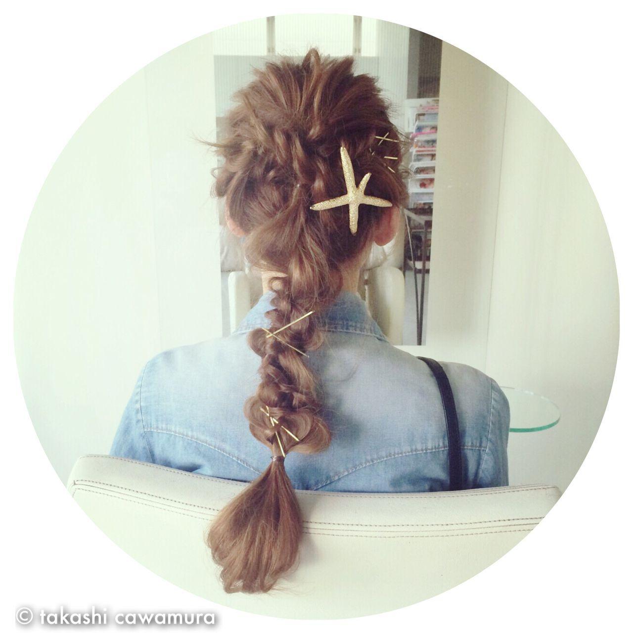 ロング ストリート ヘアピン ヘアアクセヘアスタイルや髪型の写真・画像