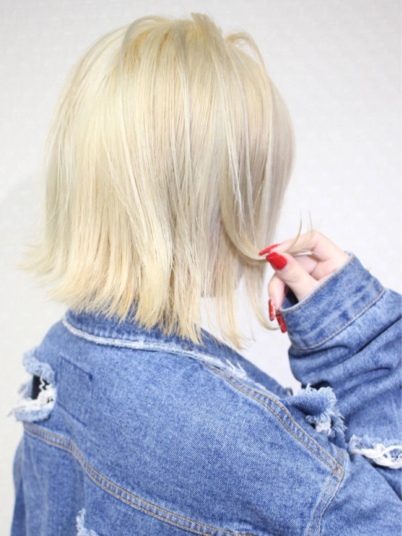 ミディアム ボブ 外国人風カラー ナチュラルヘアスタイルや髪型の写真・画像