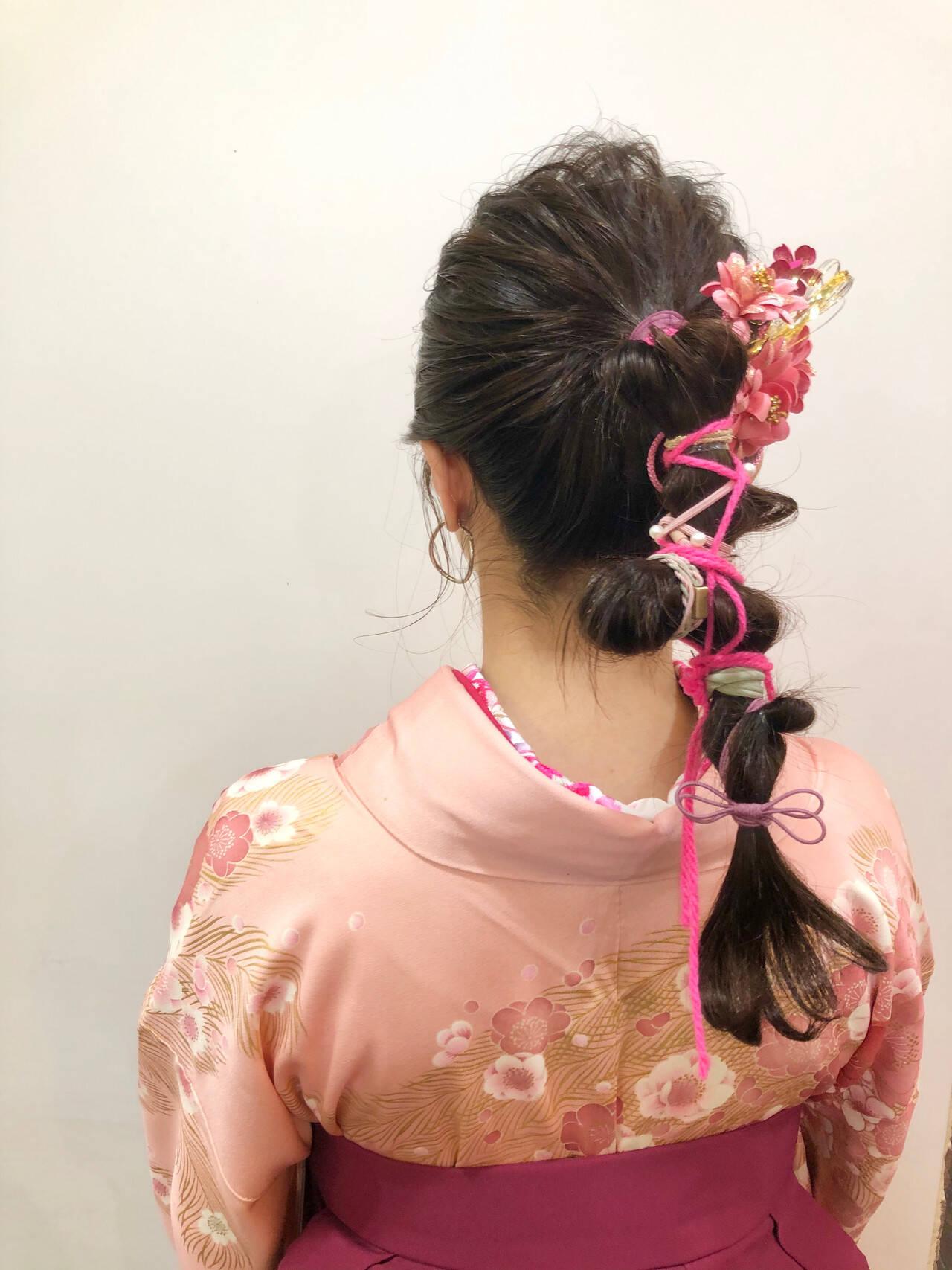 袴 ヘアセット ナチュラル ヘアアレンジヘアスタイルや髪型の写真・画像