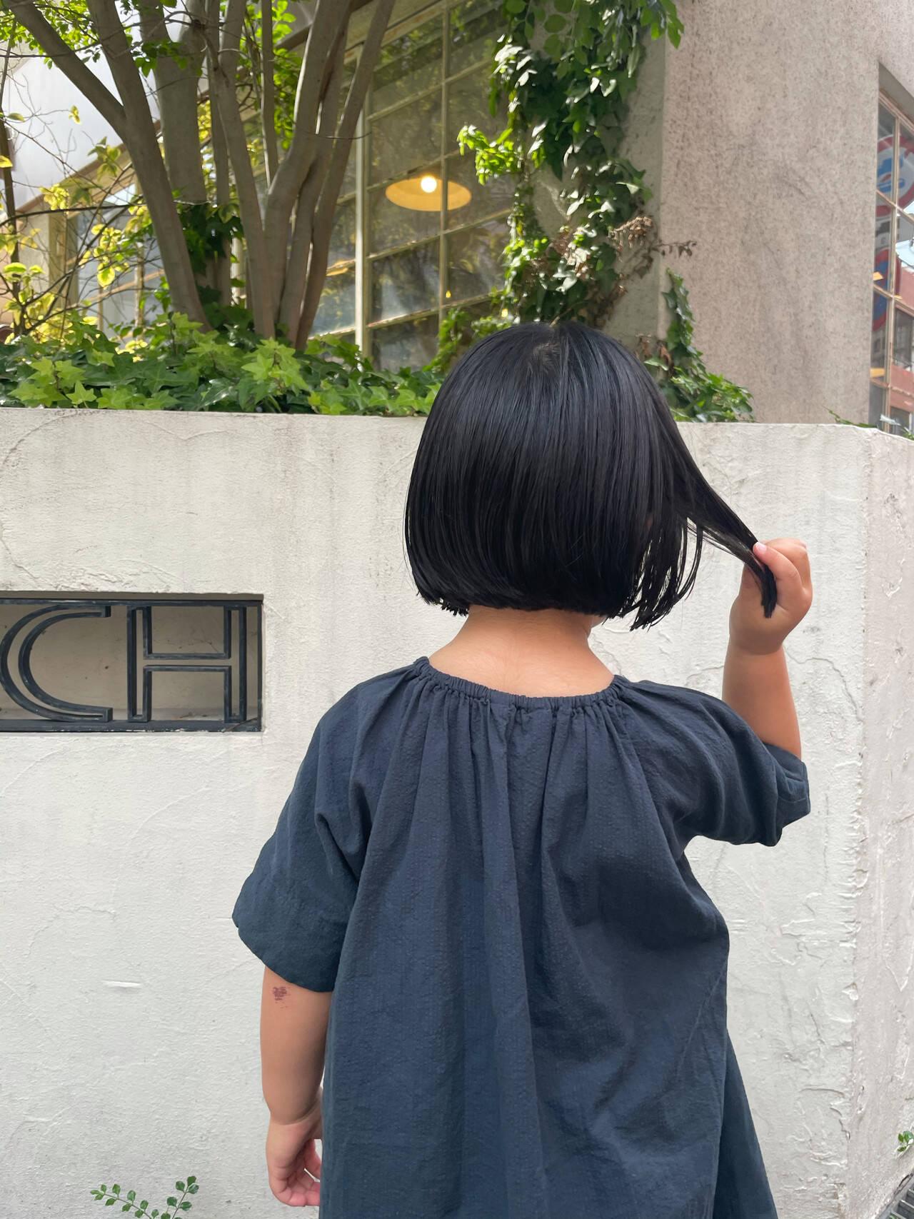 子供 ミニボブ 切りっぱなしボブ ナチュラルヘアスタイルや髪型の写真・画像