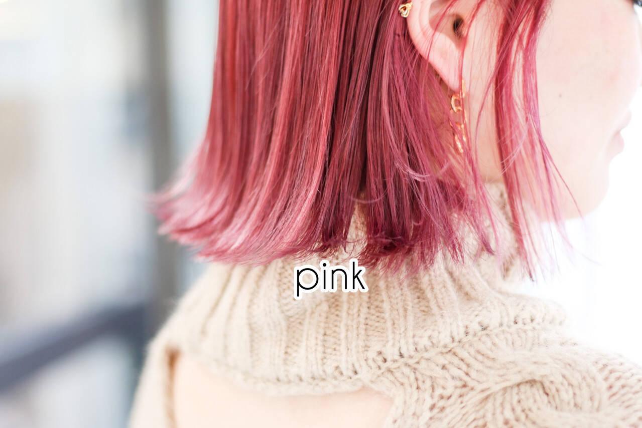 ショート ピンクアッシュ オレンジブラウン ピンクパープルヘアスタイルや髪型の写真・画像