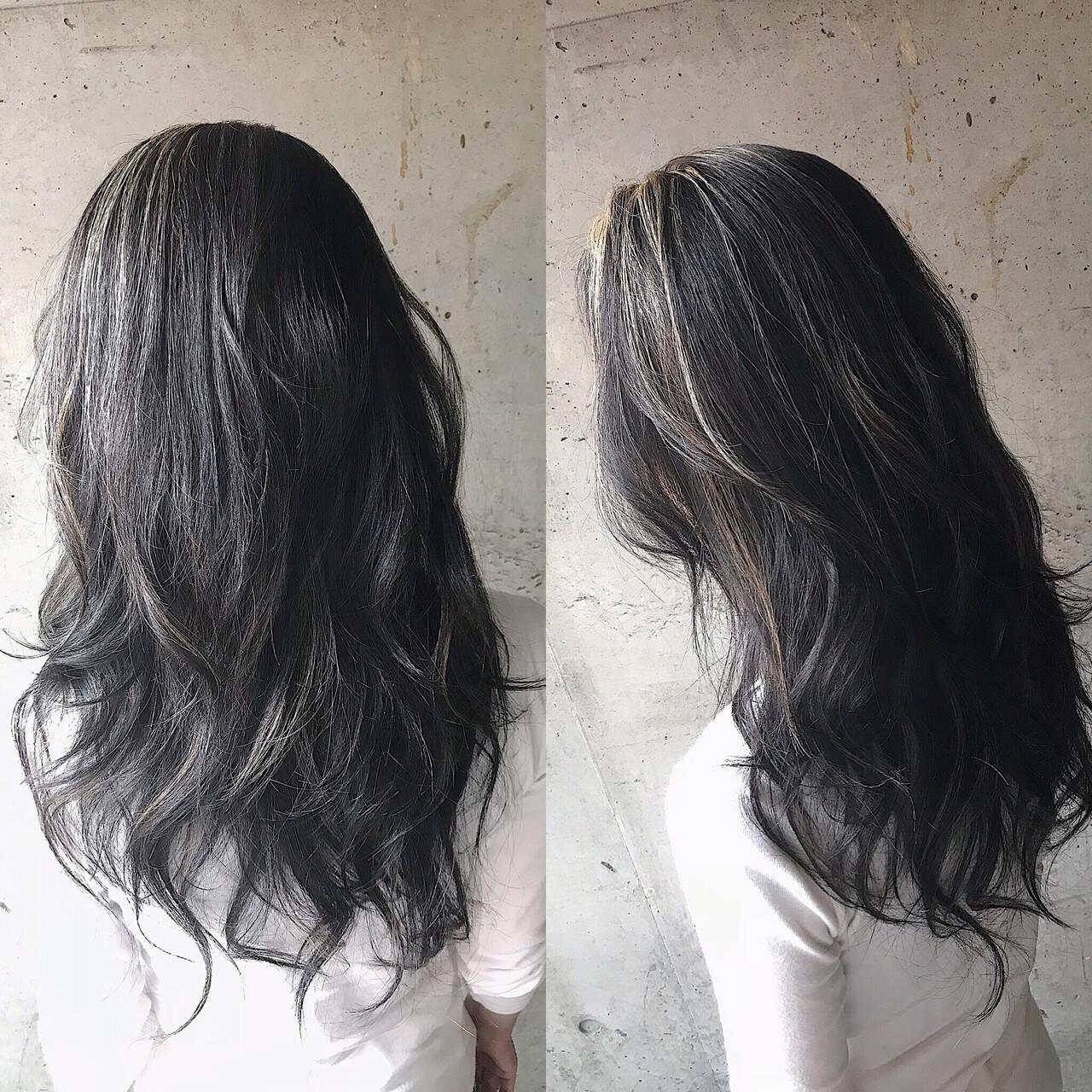 ロング ナチュラル バレイヤージュ 大人ハイライトヘアスタイルや髪型の写真・画像