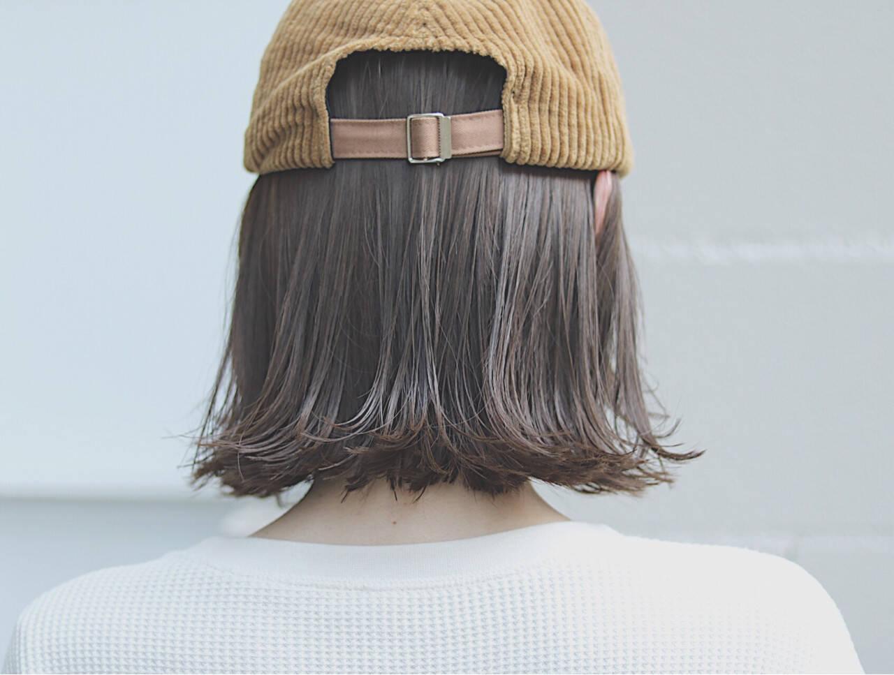 オルチャン ボブ ナチュラル 切りっぱなしヘアスタイルや髪型の写真・画像