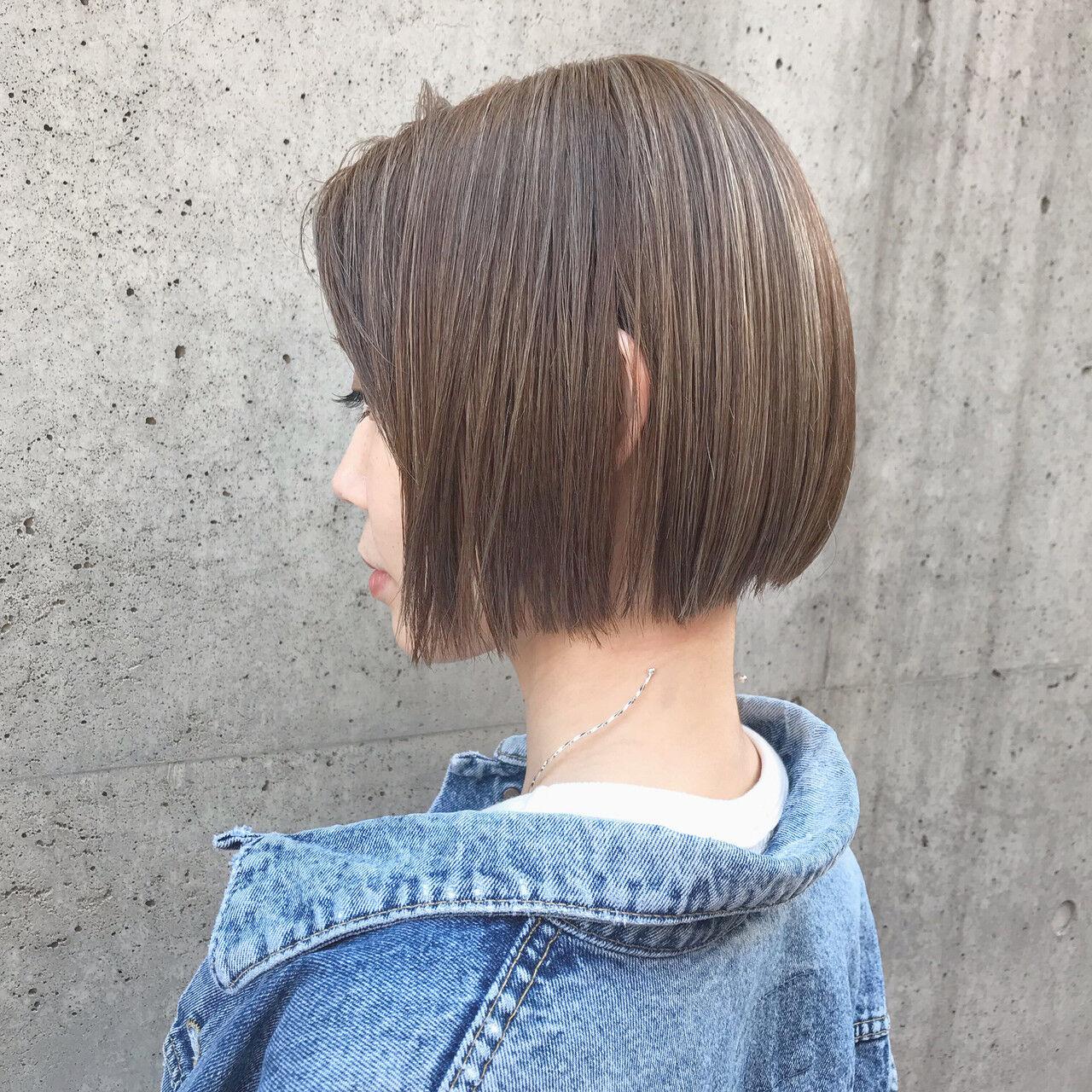 ボブ ミニボブ モテ髪 ナチュラルヘアスタイルや髪型の写真・画像