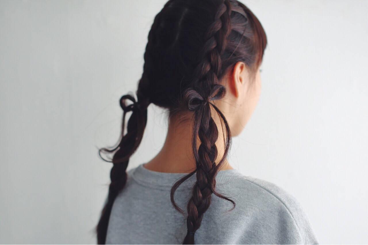ヘアアレンジ ロング ガーリー ツインテールヘアスタイルや髪型の写真・画像