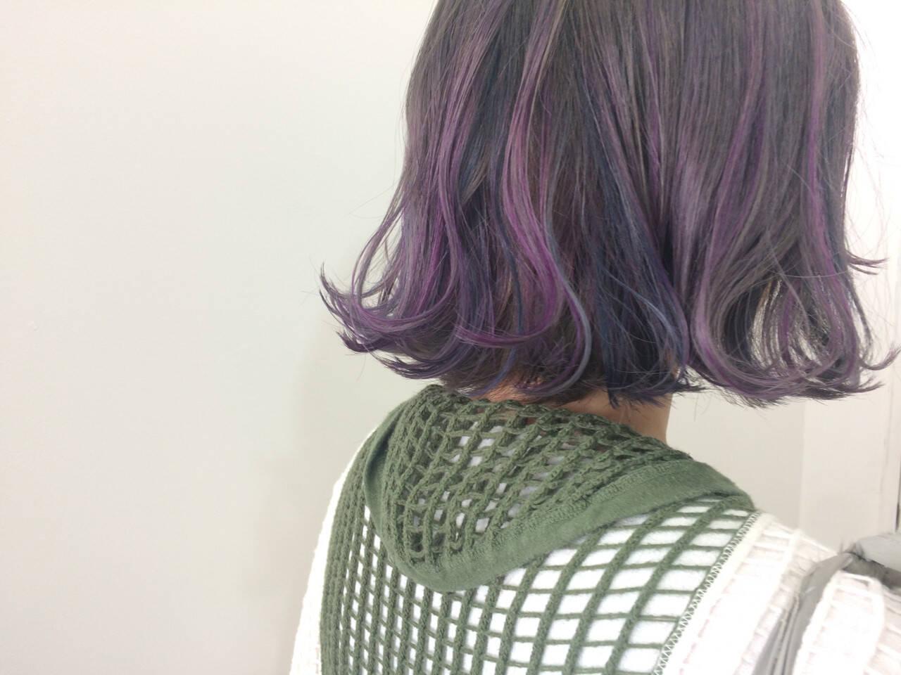 ボブ ダブルカラー ストリート ハイライトヘアスタイルや髪型の写真・画像