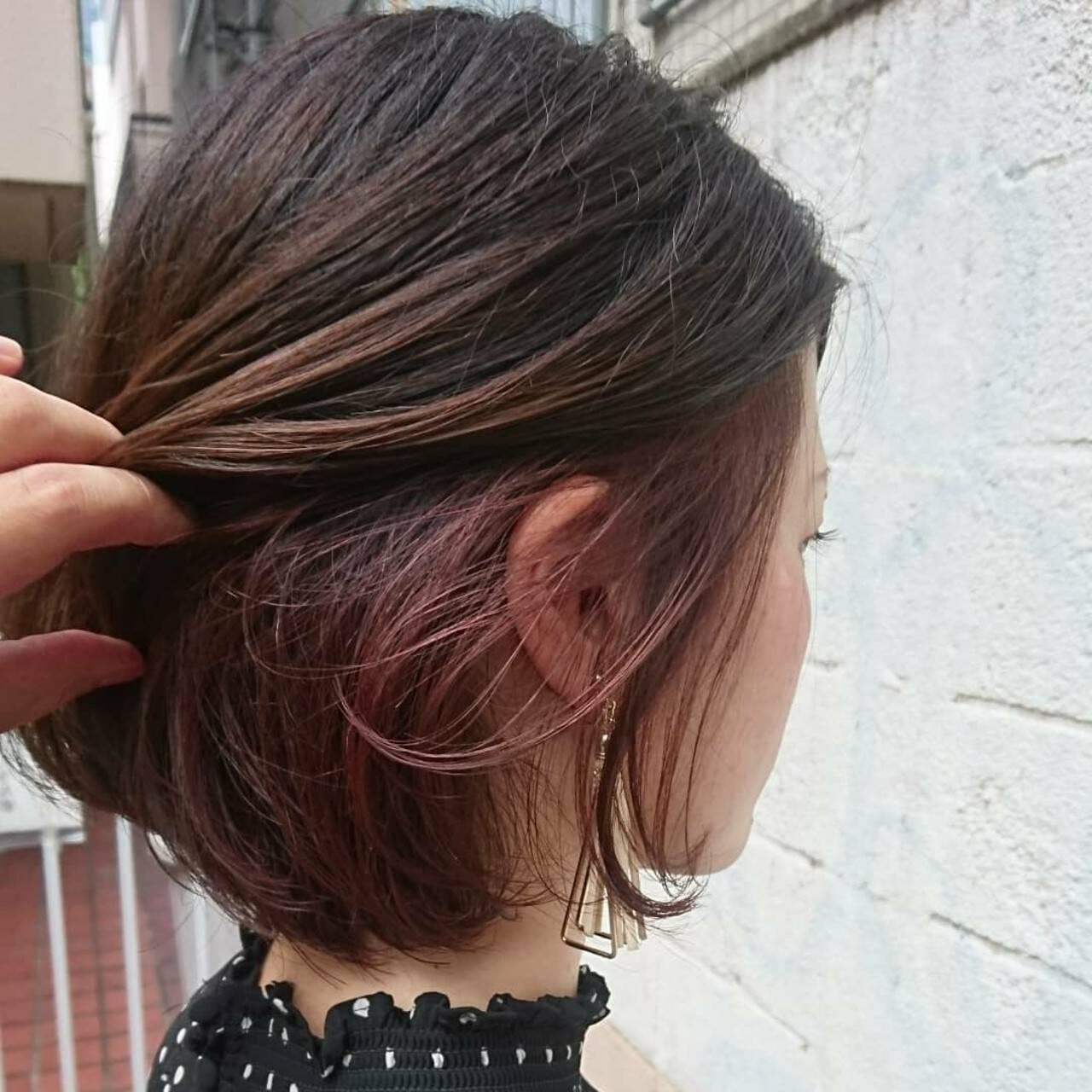 透明感 ボブ グレージュ インナーカラーヘアスタイルや髪型の写真・画像