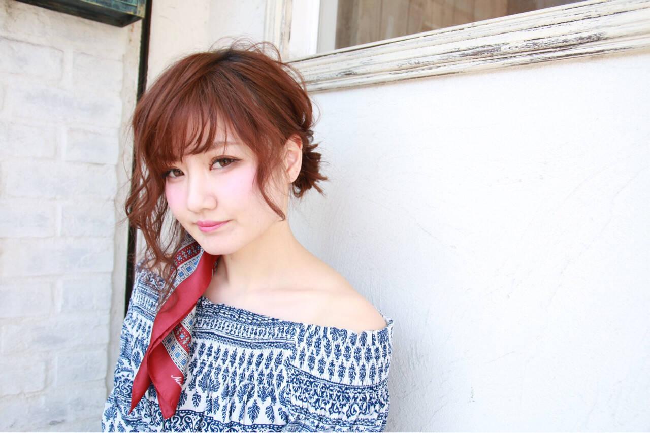 編み込み ミディアム 前髪あり ヘアアレンジヘアスタイルや髪型の写真・画像