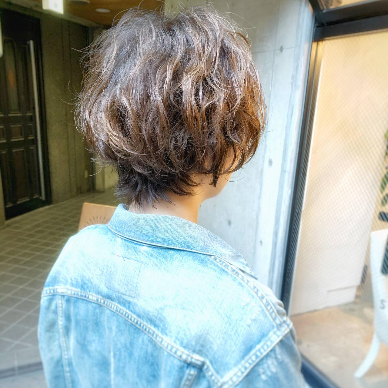 ゆるふわ ショート くせ毛 パーマヘアスタイルや髪型の写真・画像