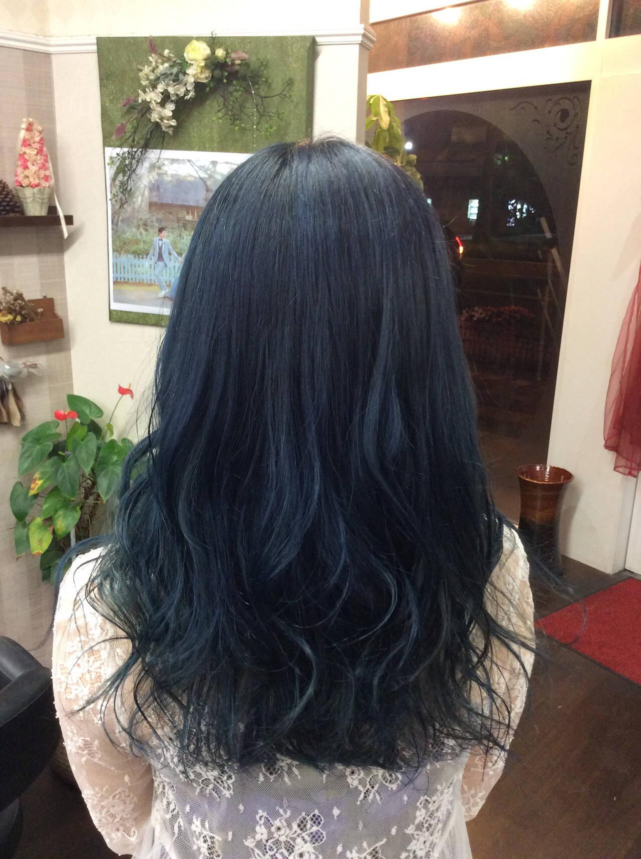 グラデーションカラー ネイビーカラー ガーリー セミロングヘアスタイルや髪型の写真・画像