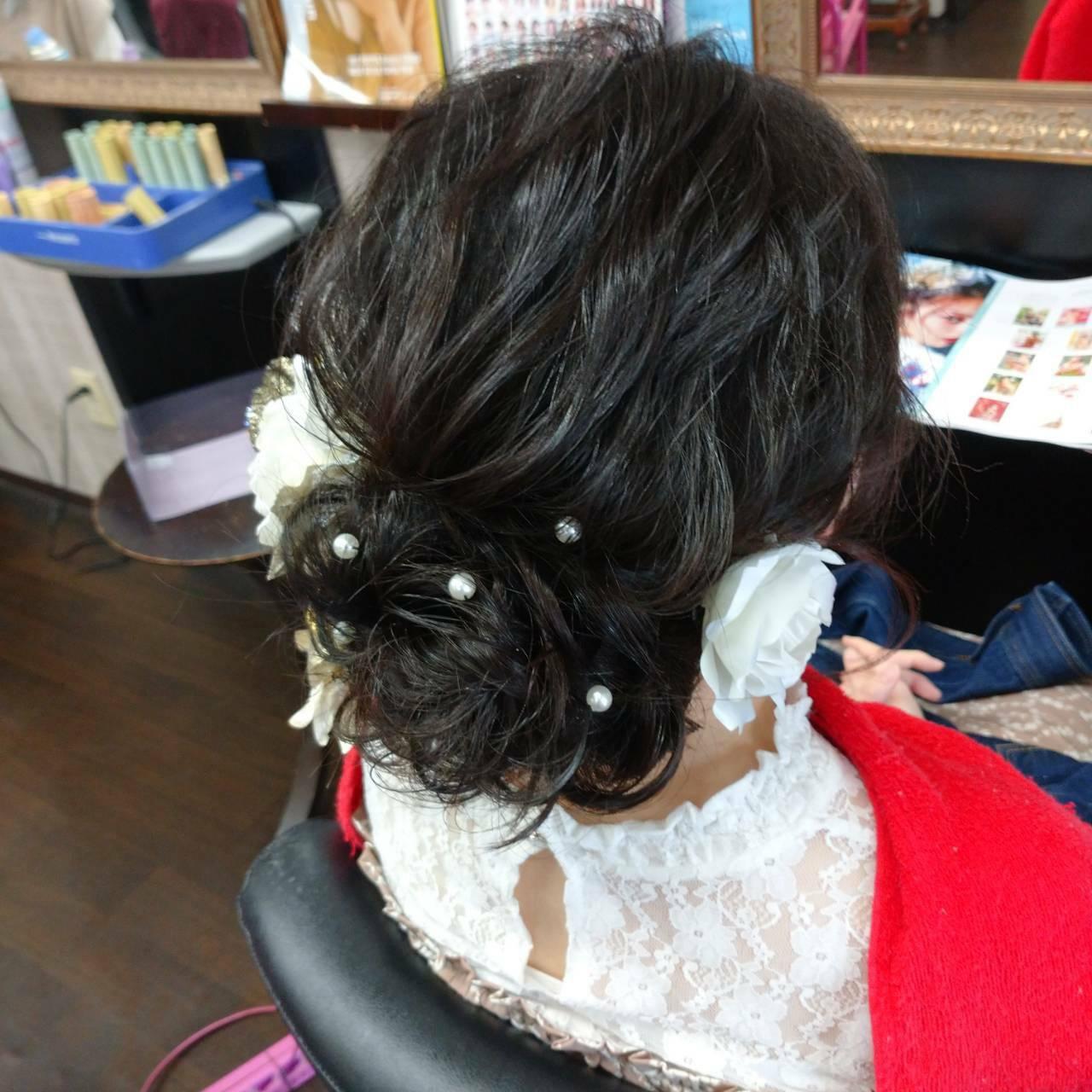 成人式 ヘアアレンジ ナチュラル セミロングヘアスタイルや髪型の写真・画像