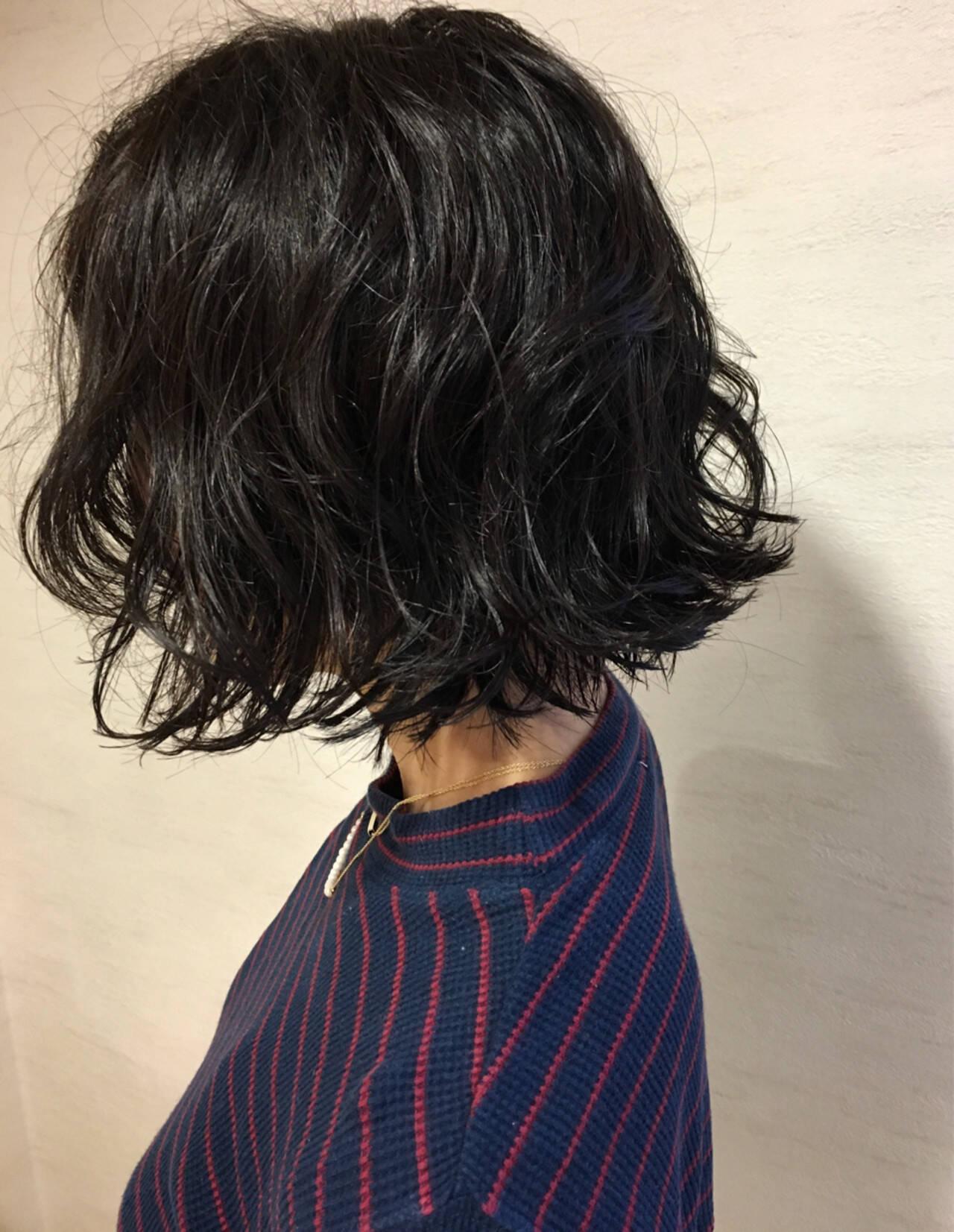 ヘアワックス パーマ ストリート ボブヘアスタイルや髪型の写真・画像