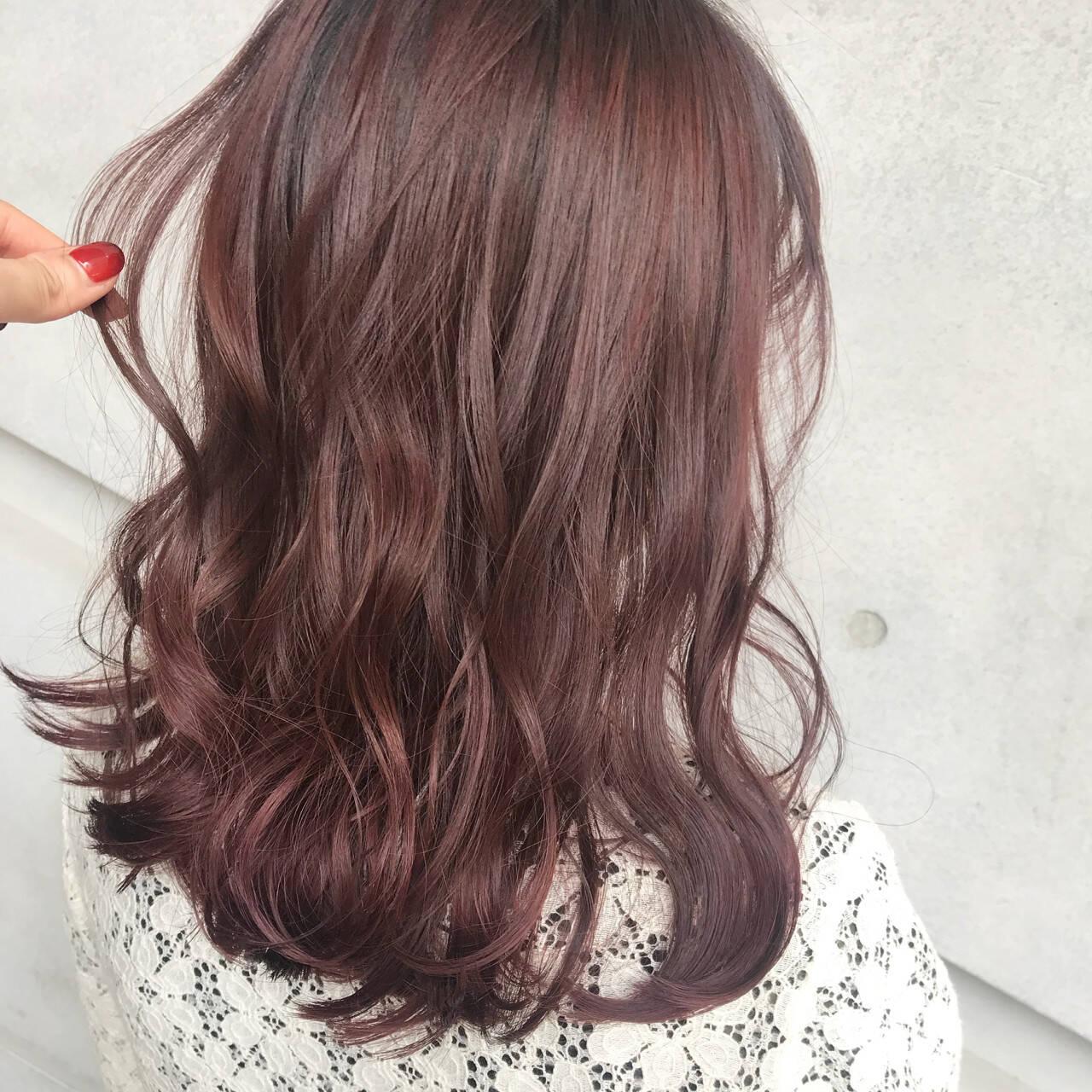 ミディアム 外国人風 ガーリー ラベンダーピンクヘアスタイルや髪型の写真・画像