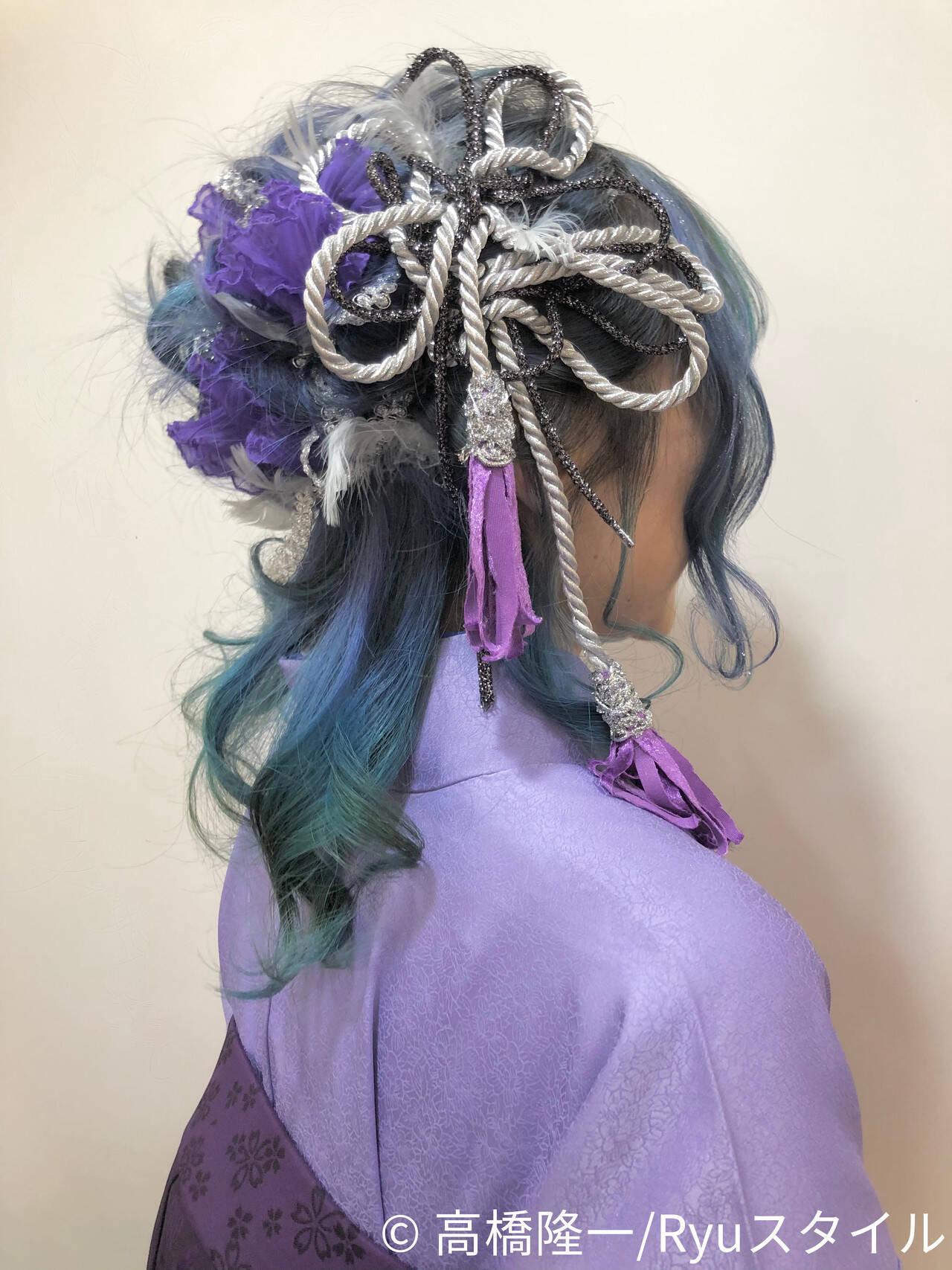 ヘアアレンジ ヘアセット セミロング 卒業式ヘアスタイルや髪型の写真・画像
