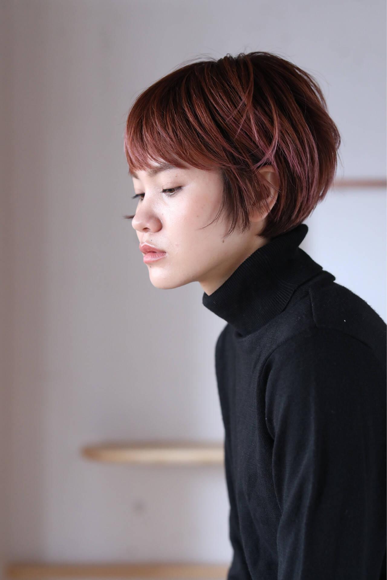 ピンクベージュ ナチュラル ショート ショートヘアヘアスタイルや髪型の写真・画像