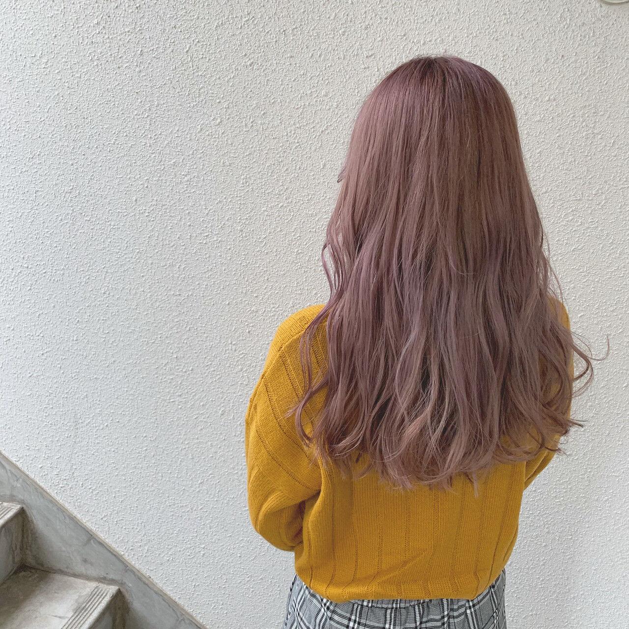 ラベンダー フェミニン ロング ラベンダーピンクヘアスタイルや髪型の写真・画像