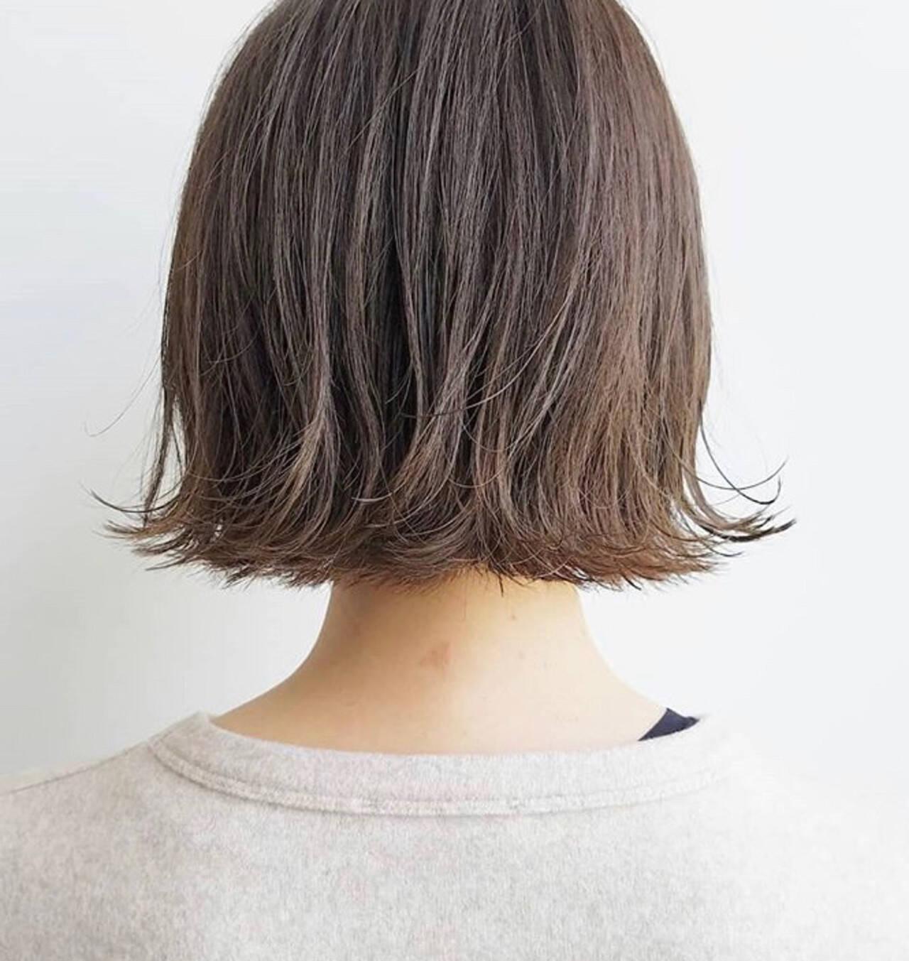 ミルクティーベージュ ミルクティーアッシュ ボブ ミルクティーグレージュヘアスタイルや髪型の写真・画像