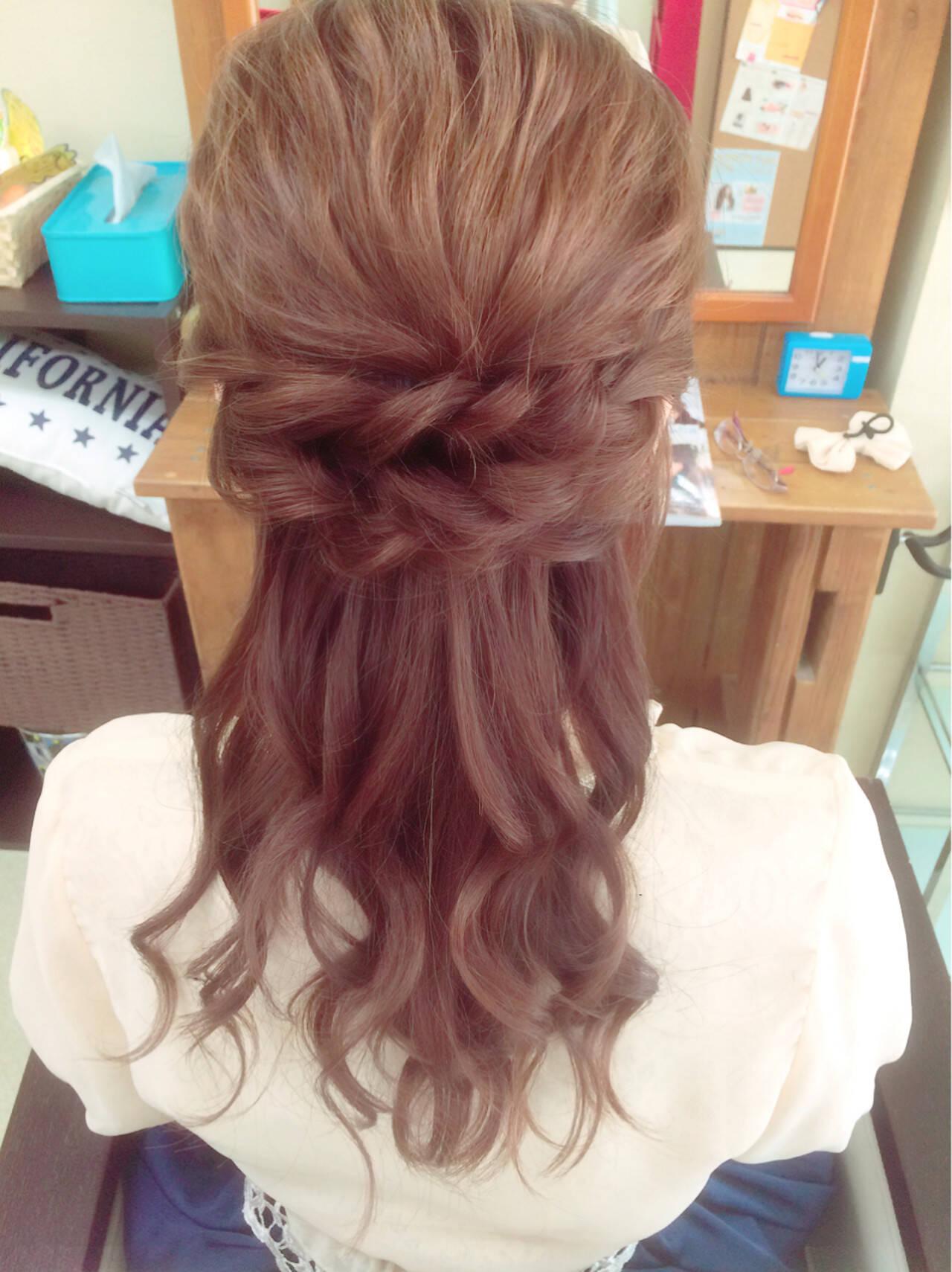 フェミニン ヘアアレンジ ハーフアップ 簡単ヘアアレンジヘアスタイルや髪型の写真・画像