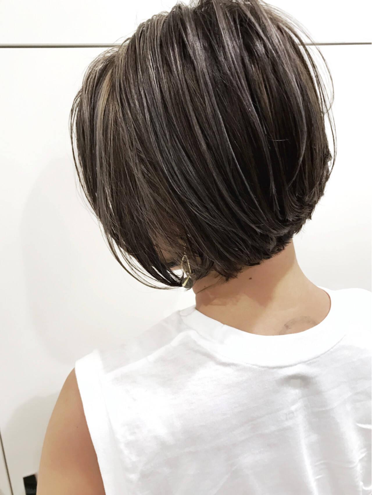 外国人風 ハイライト ボブ バレイヤージュヘアスタイルや髪型の写真・画像
