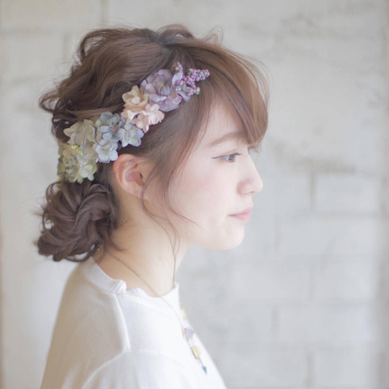 ヘアアレンジ ミディアム 花嫁 結婚式ヘアスタイルや髪型の写真・画像
