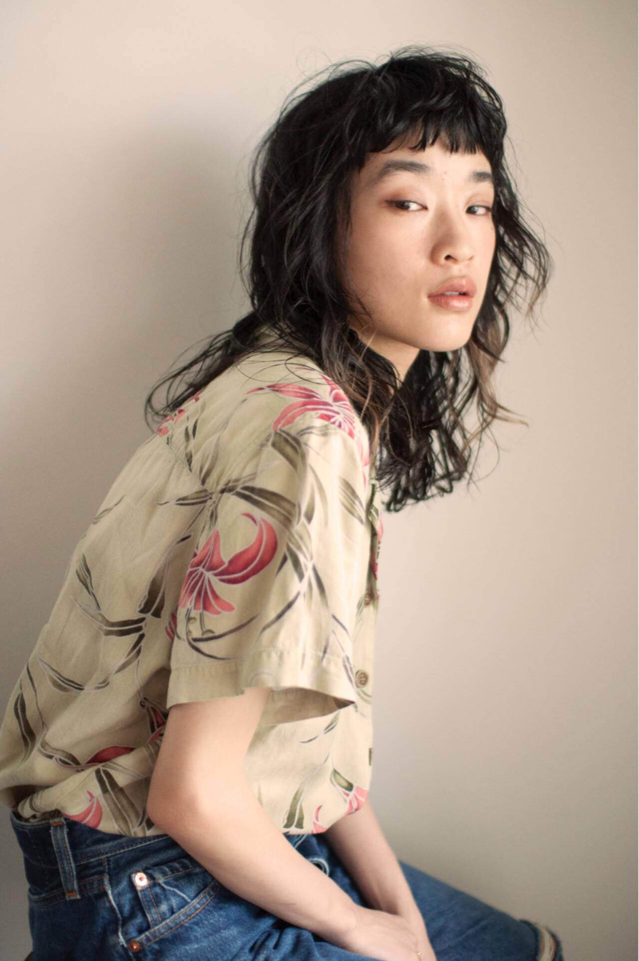外国人風 ミディアム デジタルパーマ パーマヘアスタイルや髪型の写真・画像